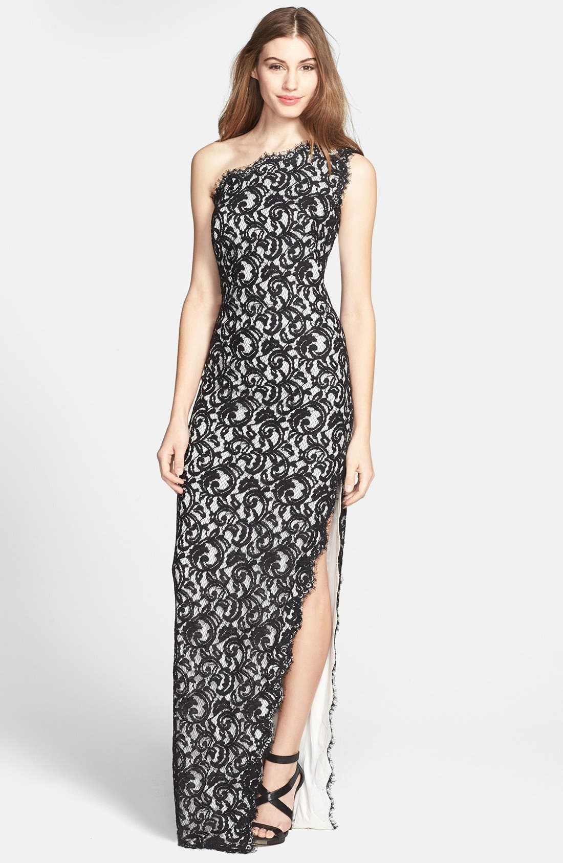 Alternate Image 1 Selected - Tadashi Shoji One Shoulder Lace Gown