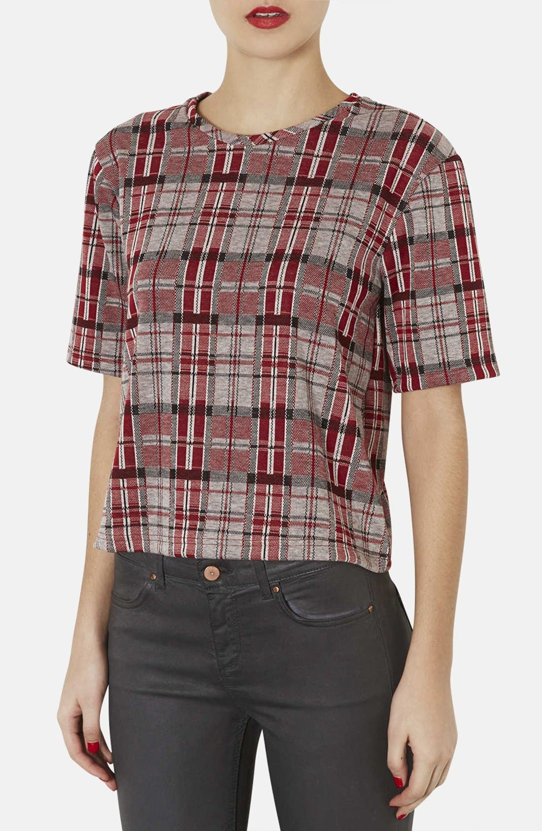 Main Image - Topshop Checkered Jacquard Tee