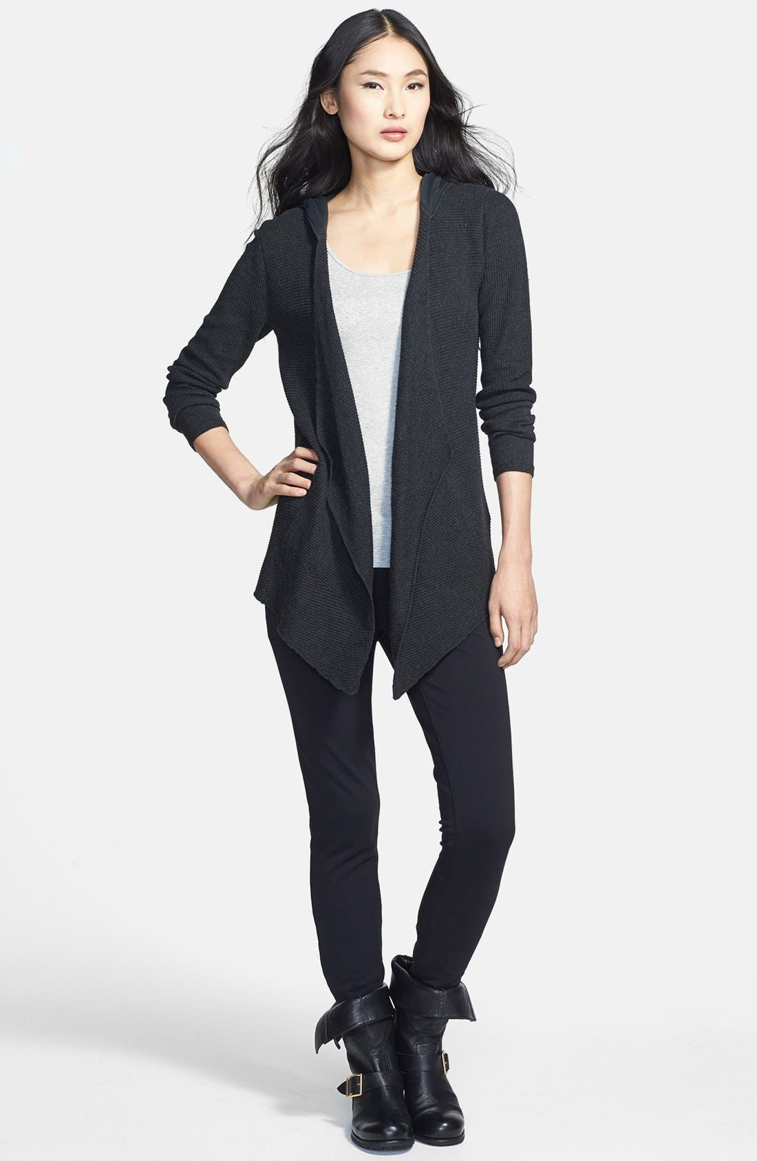 Alternate Image 3  - Eileen Fisher Drape Front Hooded Organic Cotton Cardigan