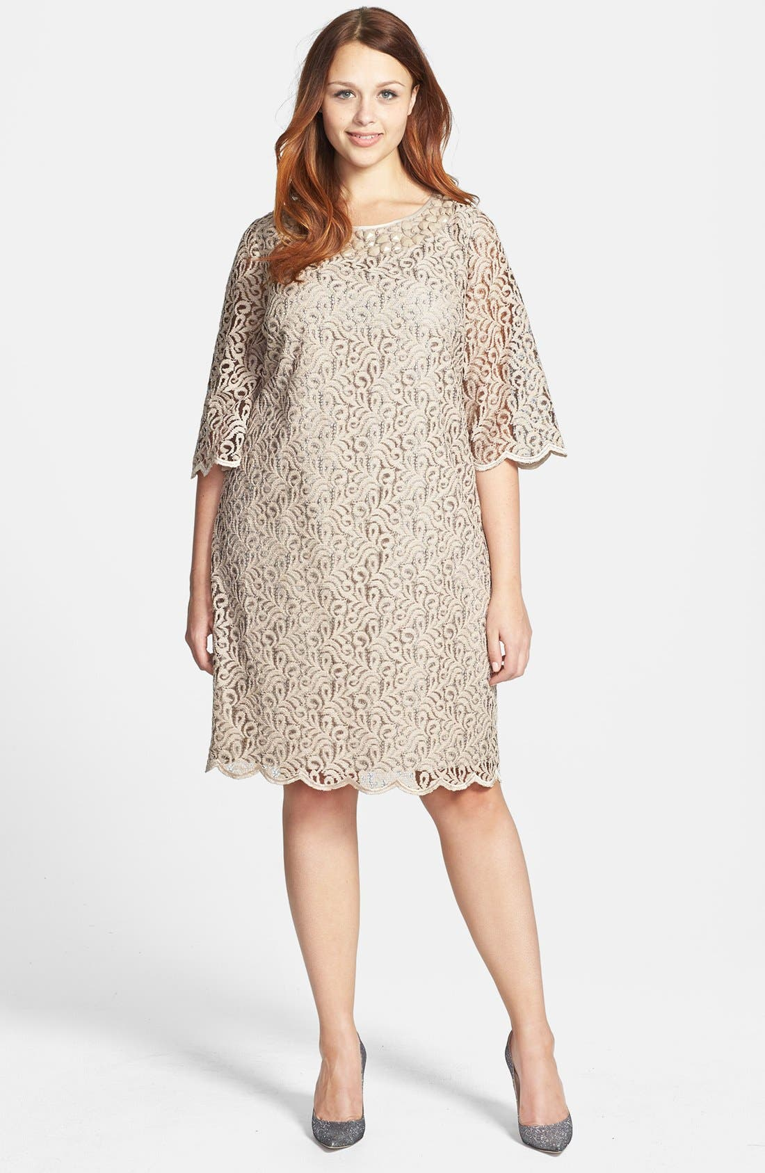 Alternate Image 1 Selected - Adrianna Papell Bell Sleeve Beaded Lace Shift Dress (Plus Size)