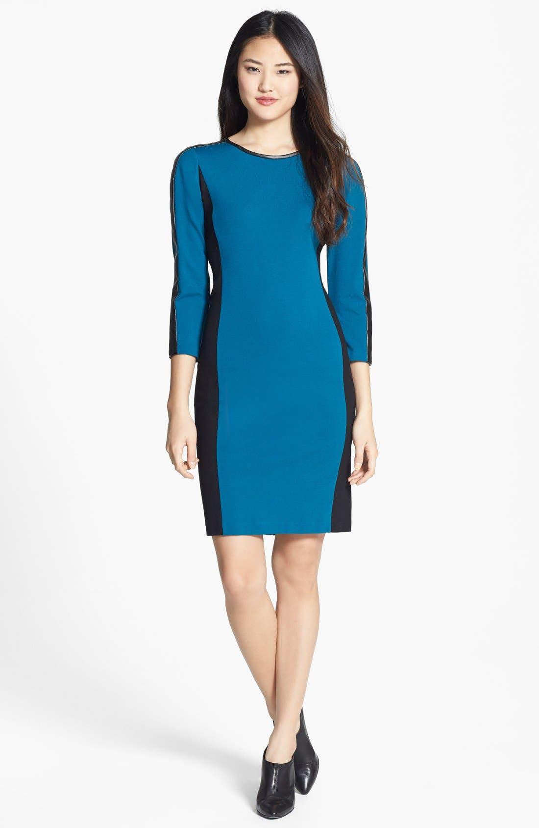 Main Image - DKNYC Colorblock Faux Leather Trim Dress