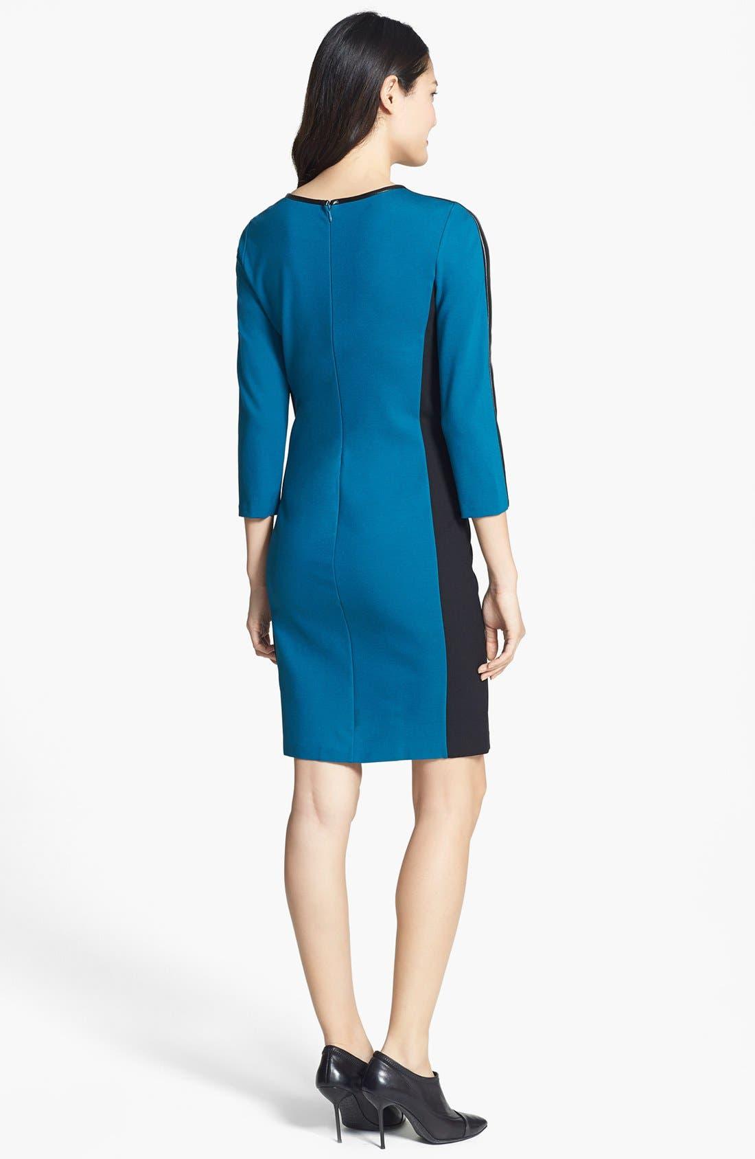 Alternate Image 2  - DKNYC Colorblock Faux Leather Trim Dress