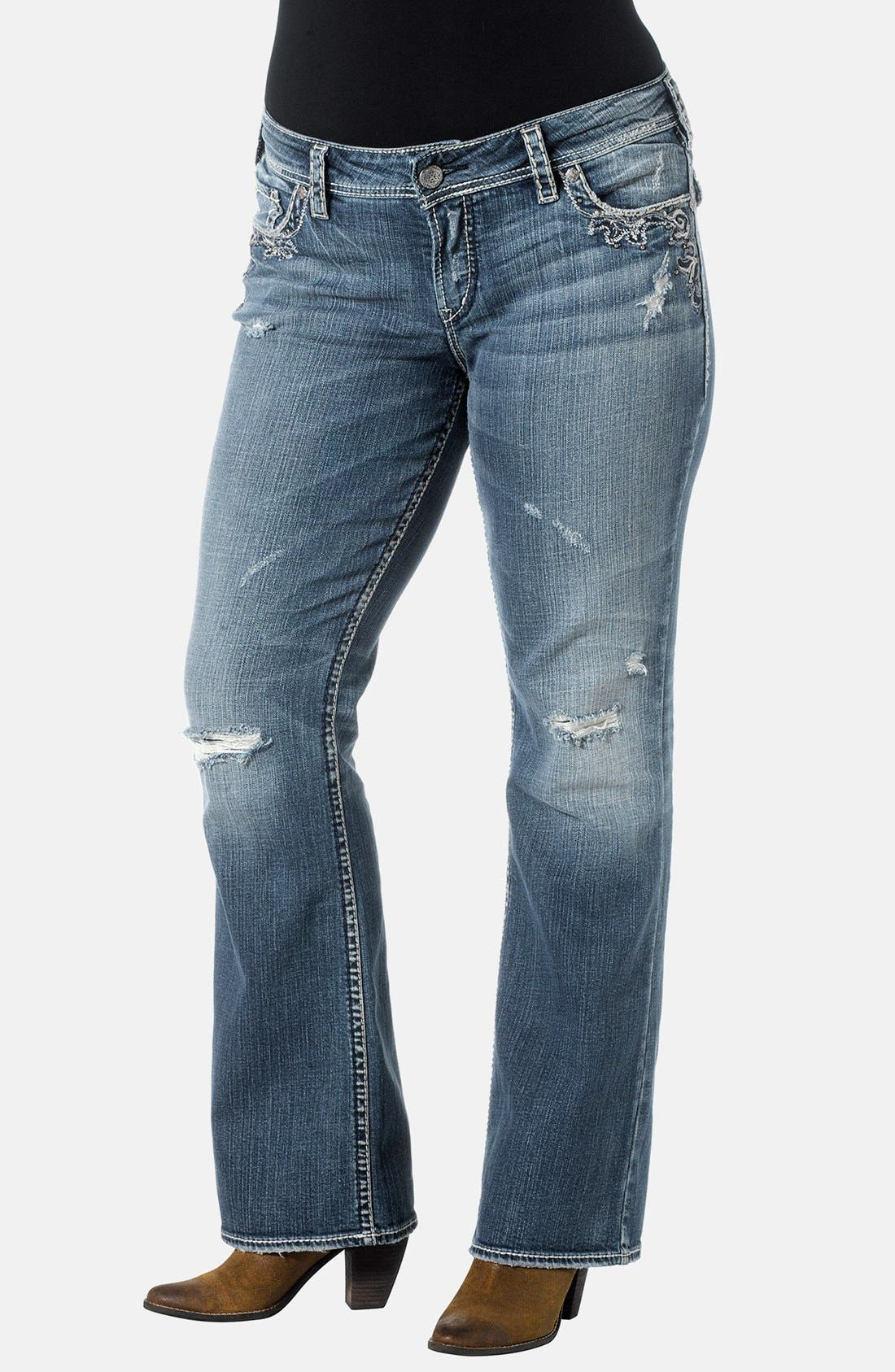 Alternate Image 1 Selected - Silver Jeans Co. 'Suki' Embroidered Pocket Bootcut Jeans (Indigo) (Plus Size)
