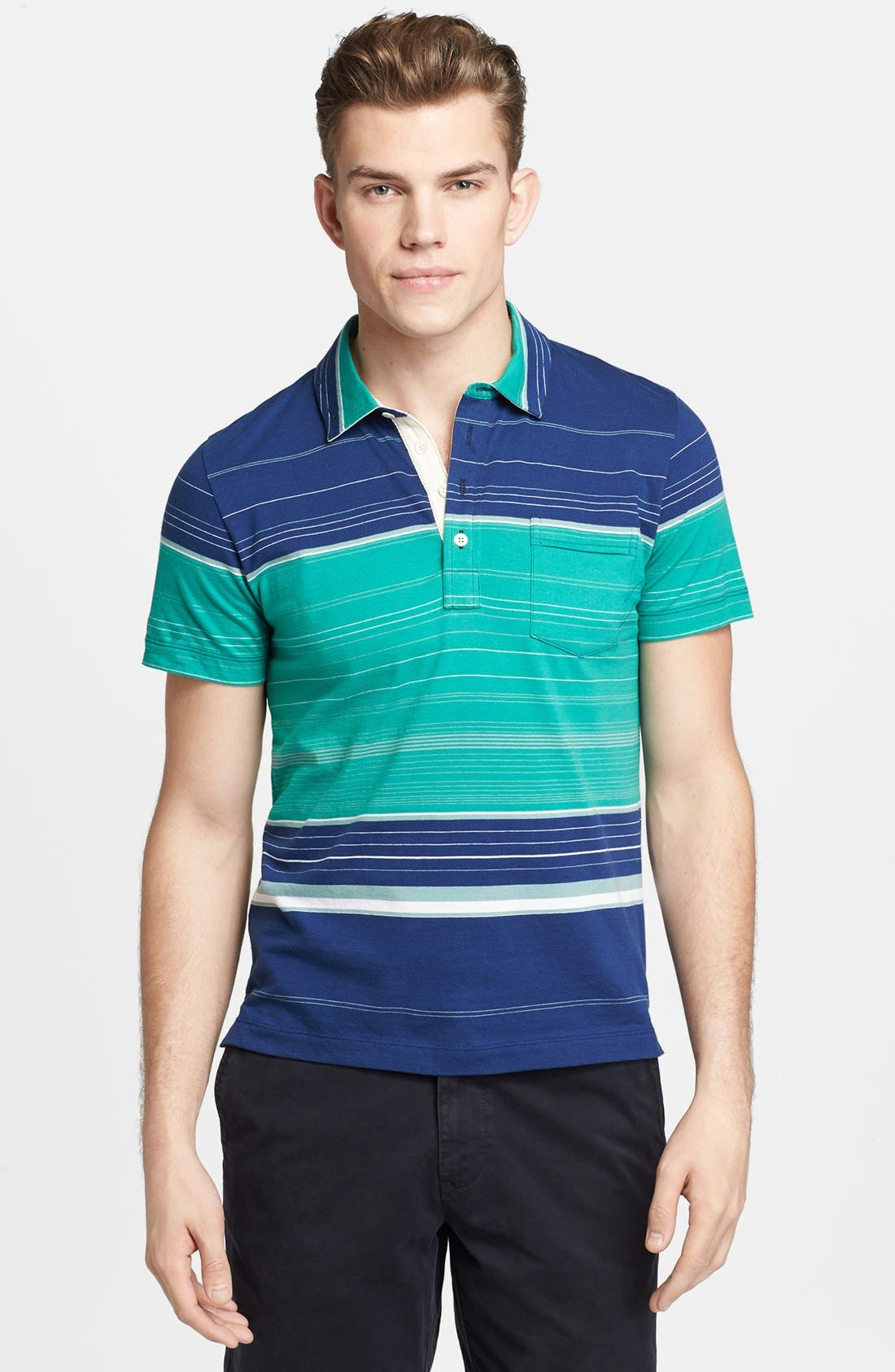Alternate Image 1 Selected - Billy Reid 'Pensacola' Block Stripe Jersey Polo