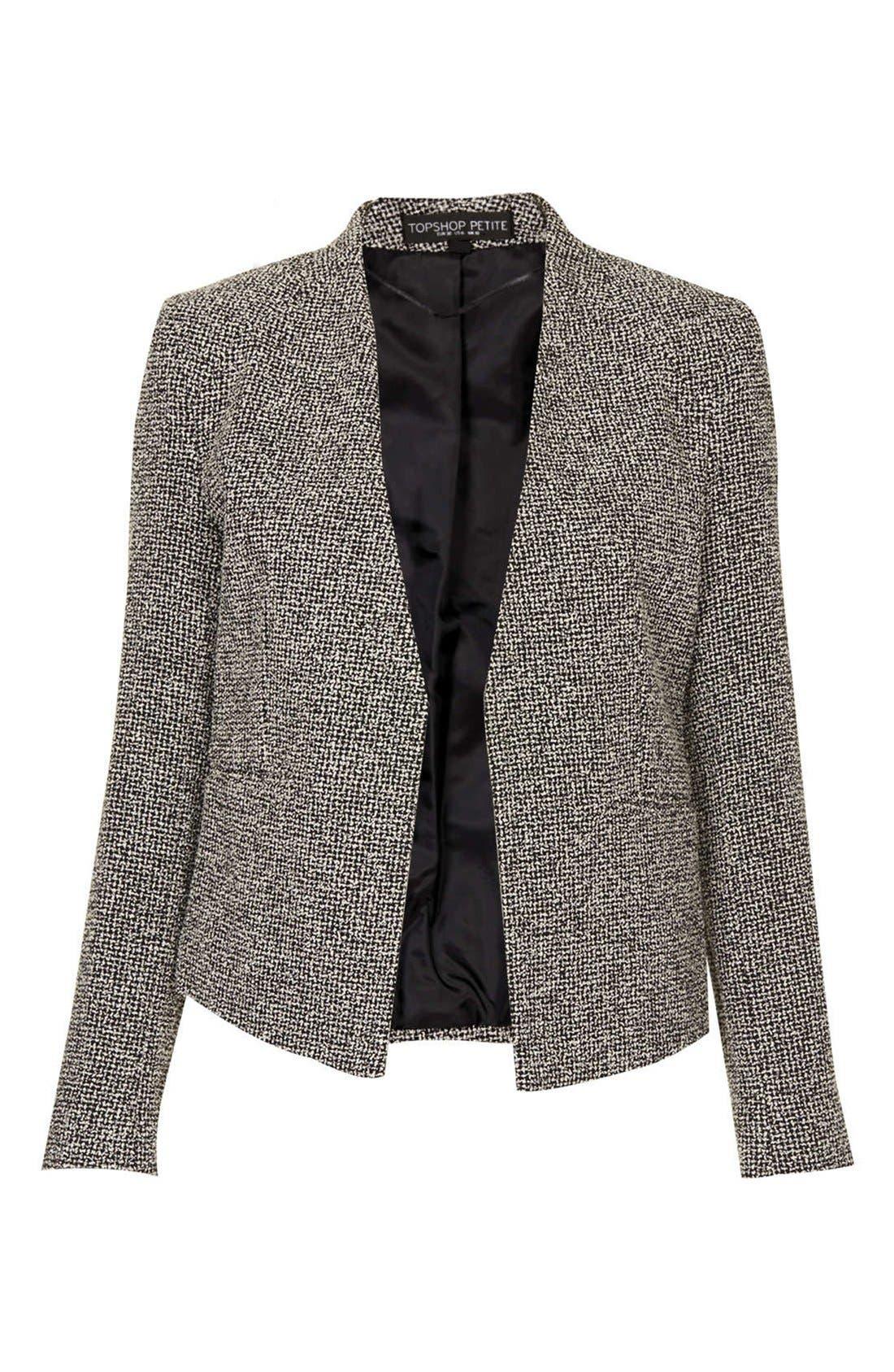 Alternate Image 3  - Topshop 'Bonnie' Collarless Textured Blazer (Petite)