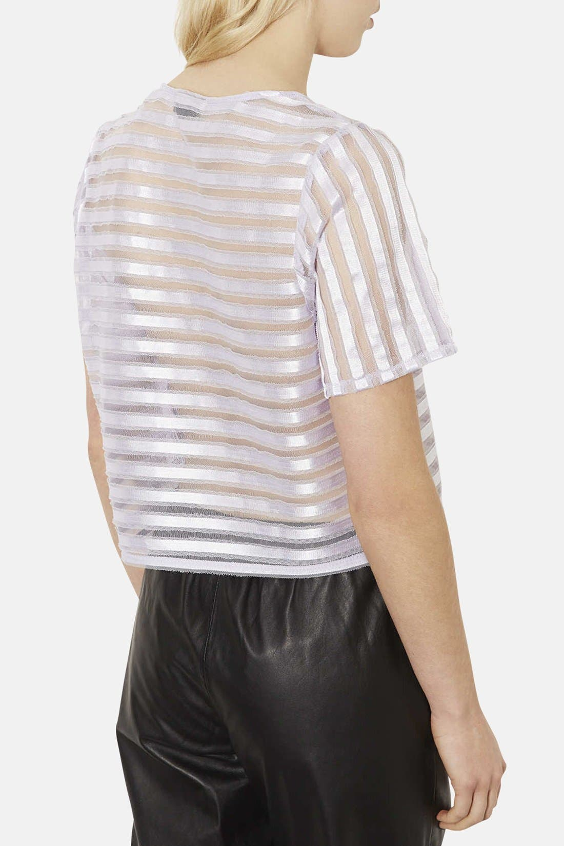 Alternate Image 2  - Topshop Stripe Mesh Appliqué Tee