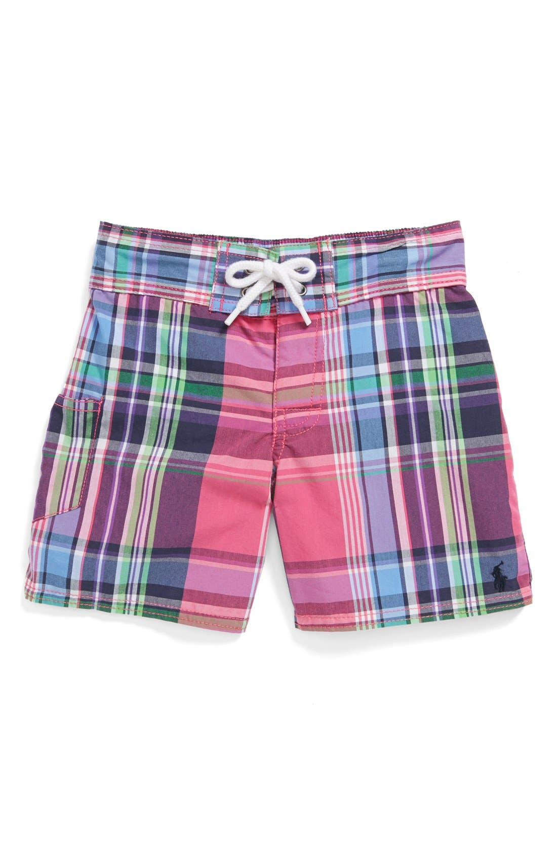 Main Image - Ralph Lauren Plaid Swim Trunks (Toddler Boys)