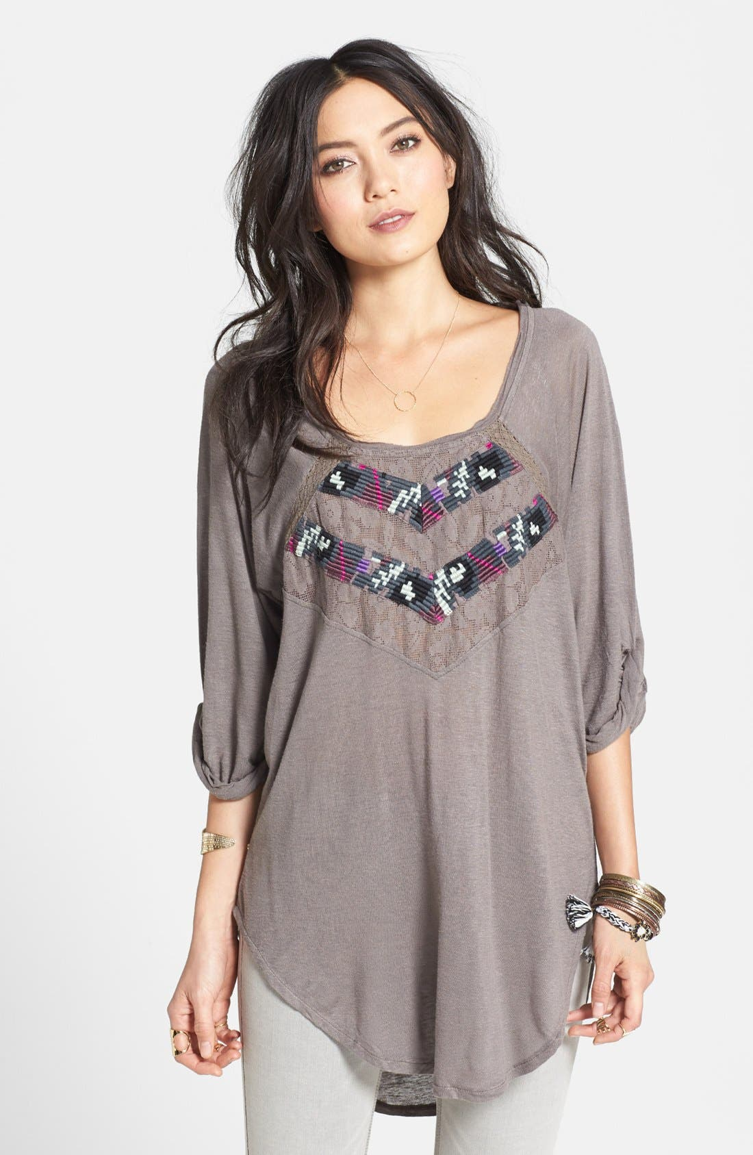 Alternate Image 1 Selected - Free People 'She Needs to Roam' Embroidered High/Low Top