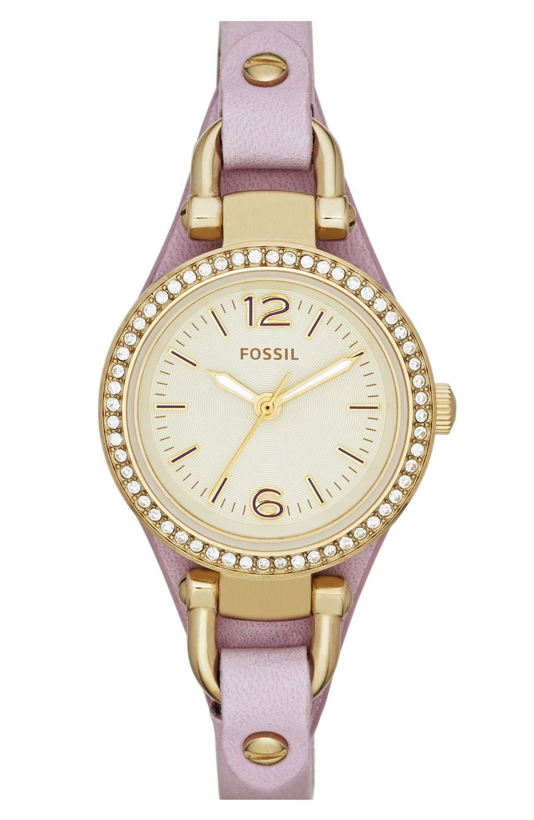 Main Image - Fossil 'Small Georgia' Crystal Bezel Leather Strap Watch, 26mm