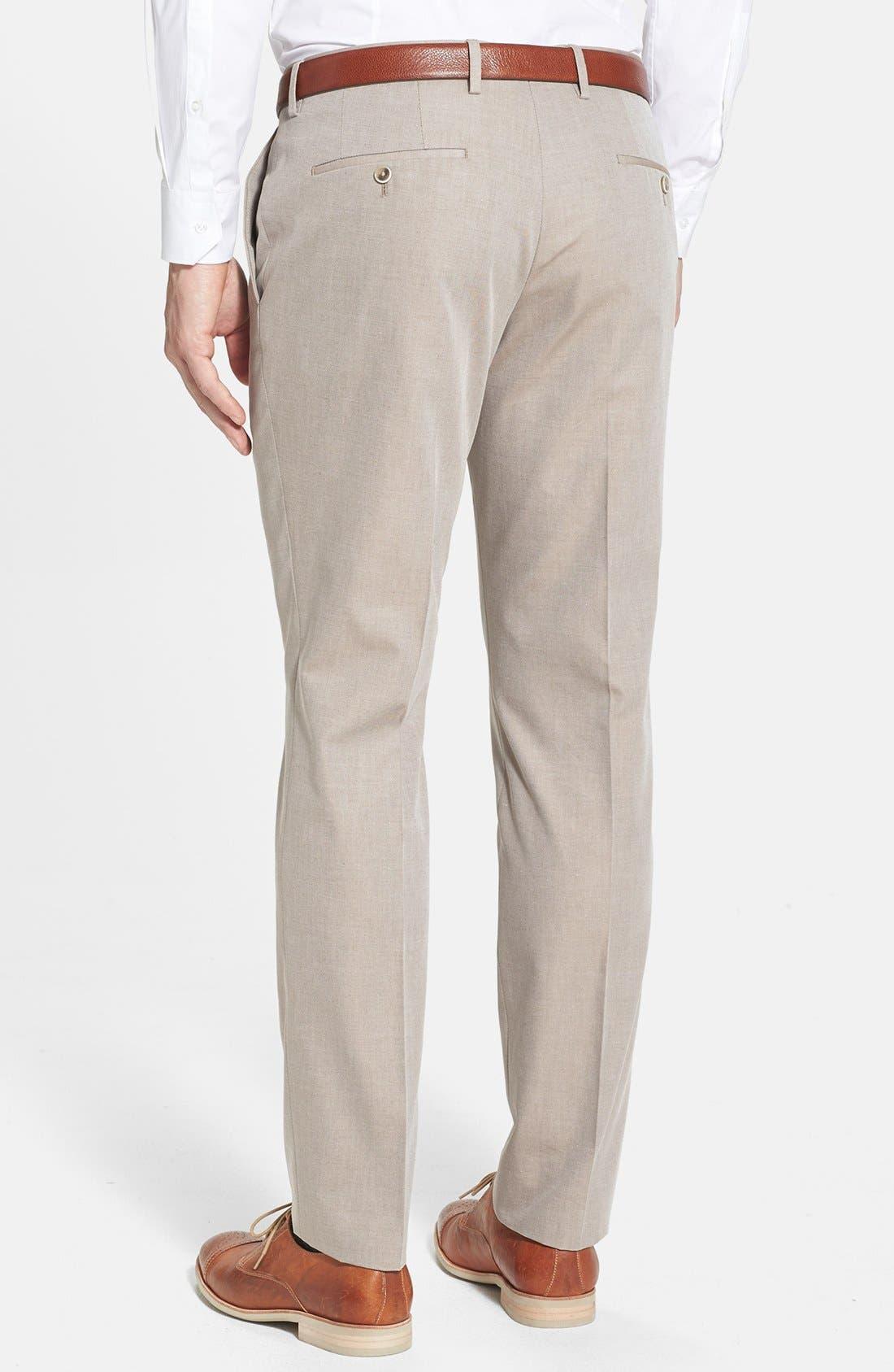 Alternate Image 2  - BOSS HUGO BOSS 'Genesis' Flat Front Cotton Trousers