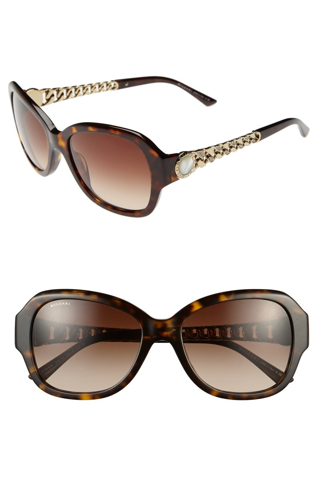 Alternate Image 1 Selected - BVLGARI 56mm Oversized Sunglasses