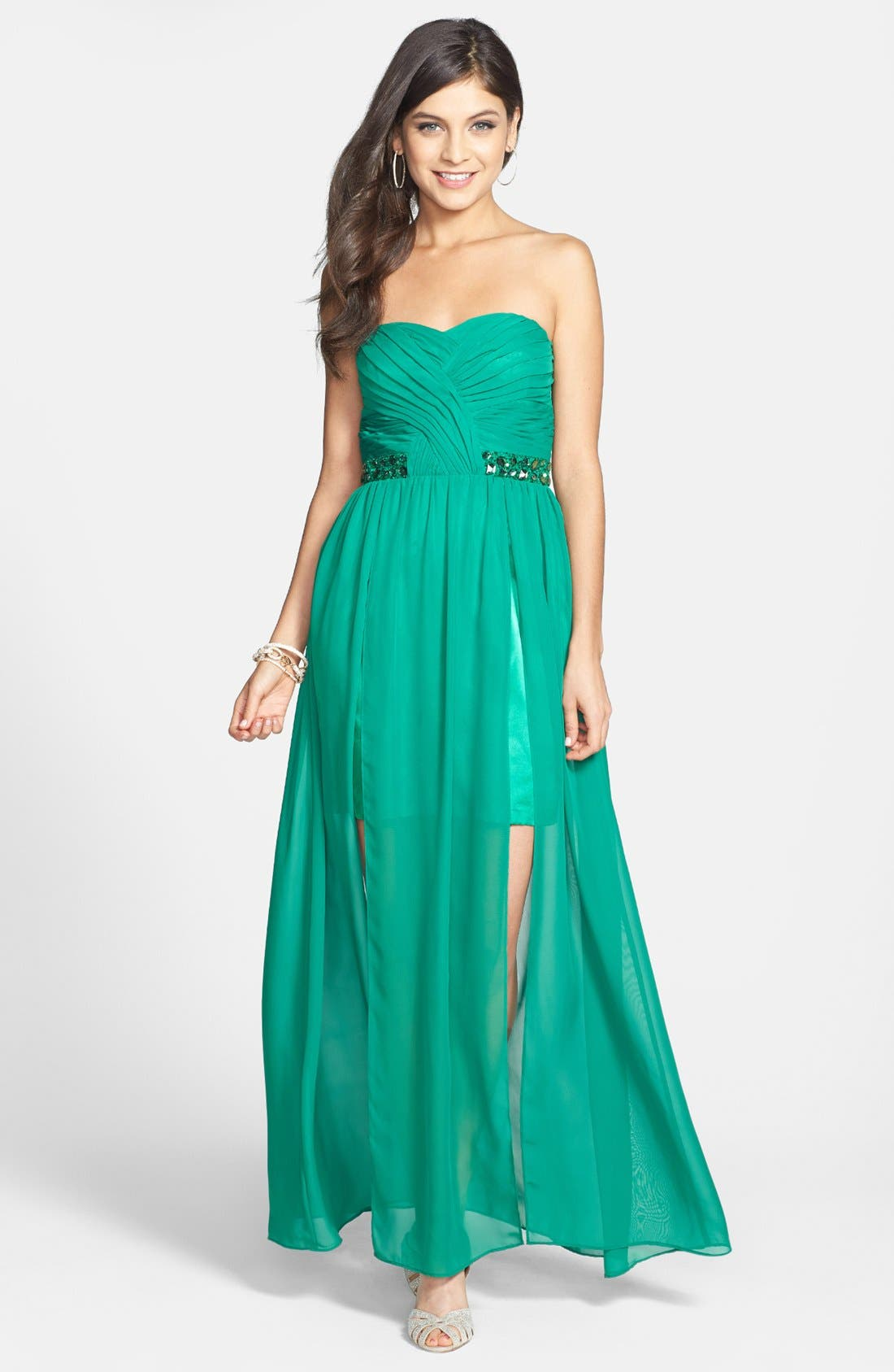 Main Image - Hailey Logan Embellished Cutout Gown (Juniors)