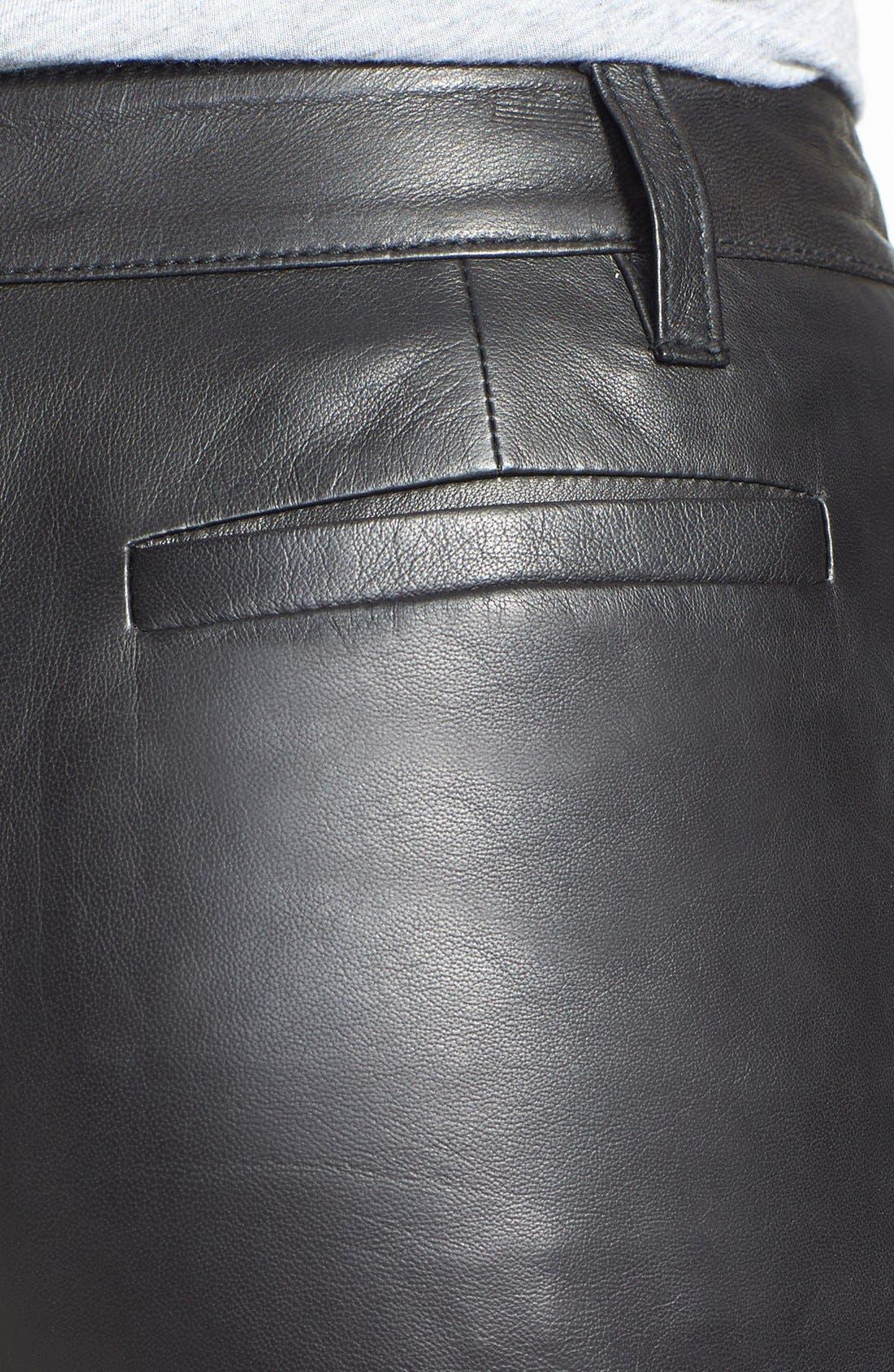Alternate Image 3  - Halogen® Leather Shorts (Regular & Petite) (Online Only)