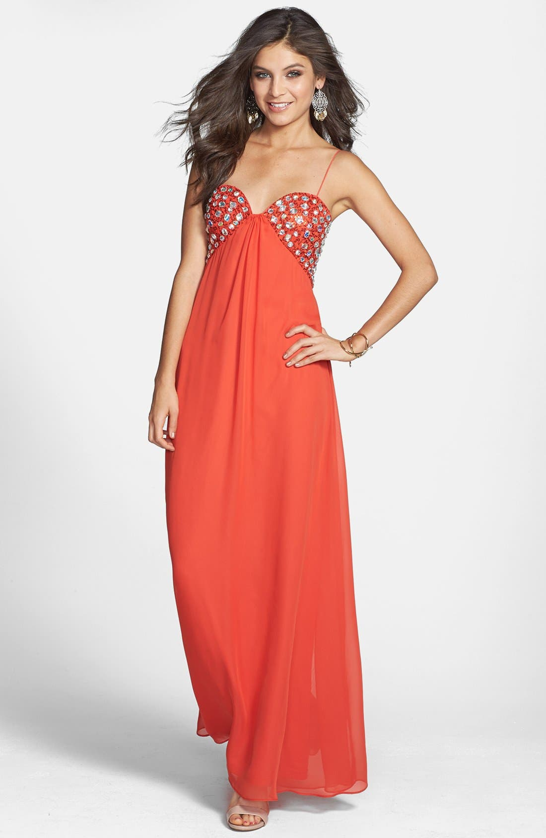 Main Image - Hailey Logan Embellished Empire Waist Gown (Juniors) (Online Only)