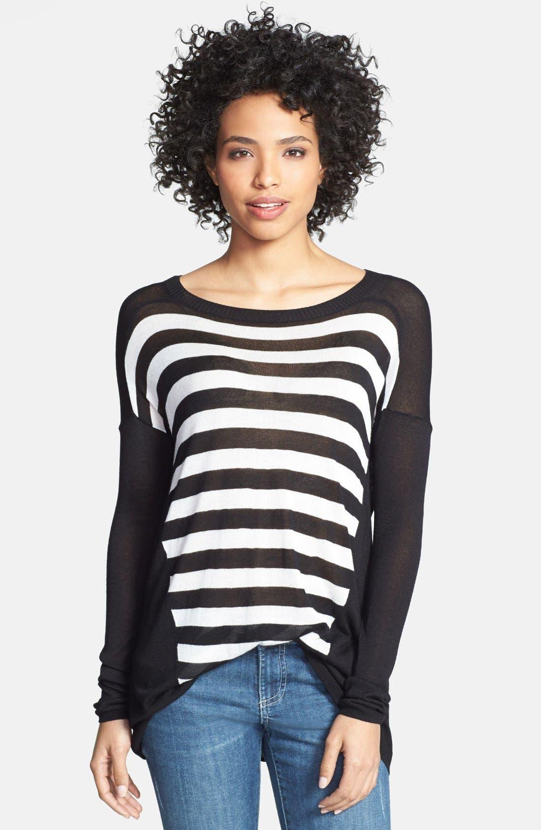 Alternate Image 1 Selected - eric + lani Stripe Front Sweater