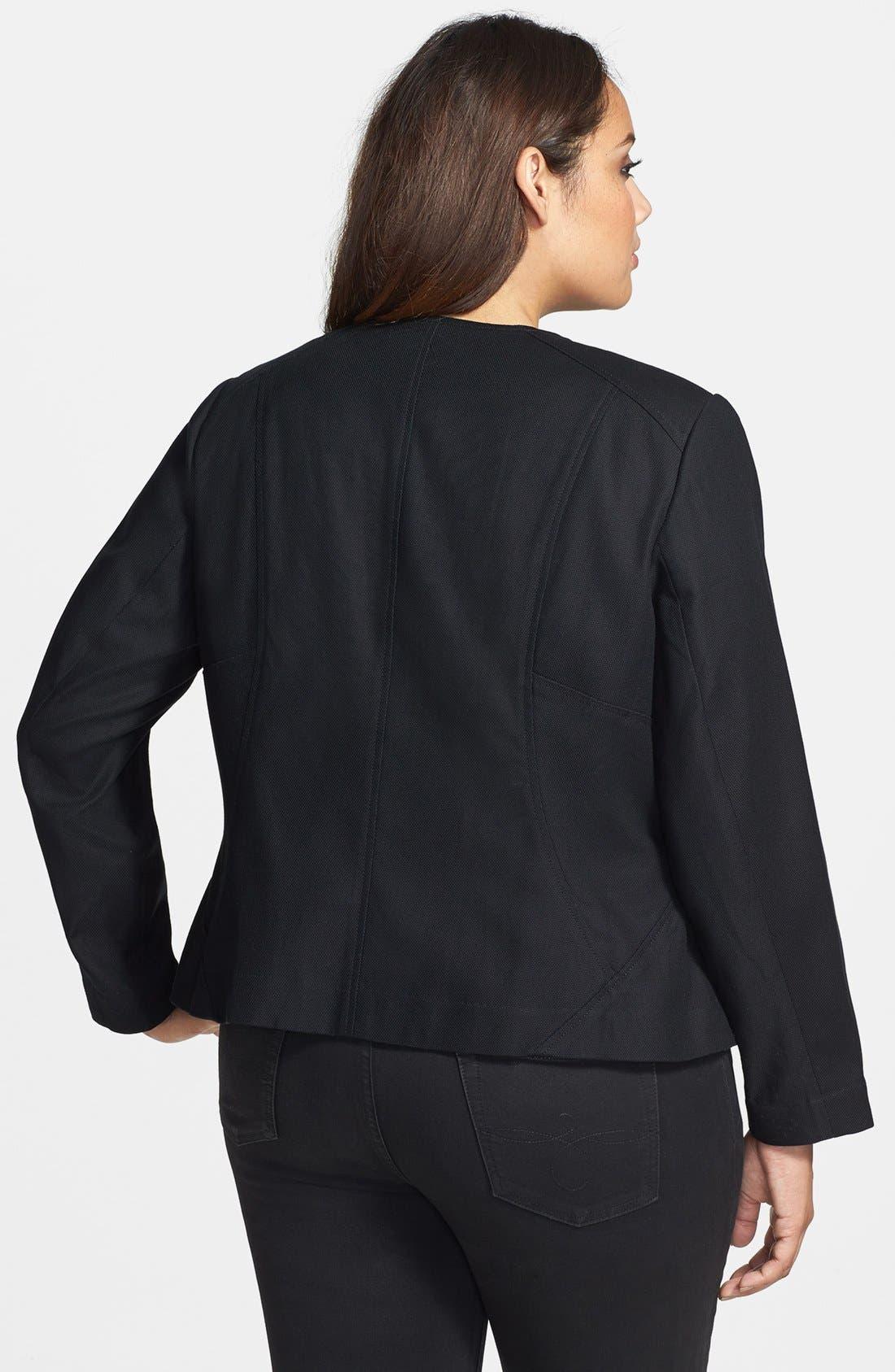 Alternate Image 2  - Sejour Stretch Cotton Zip Jacket (Plus Size)
