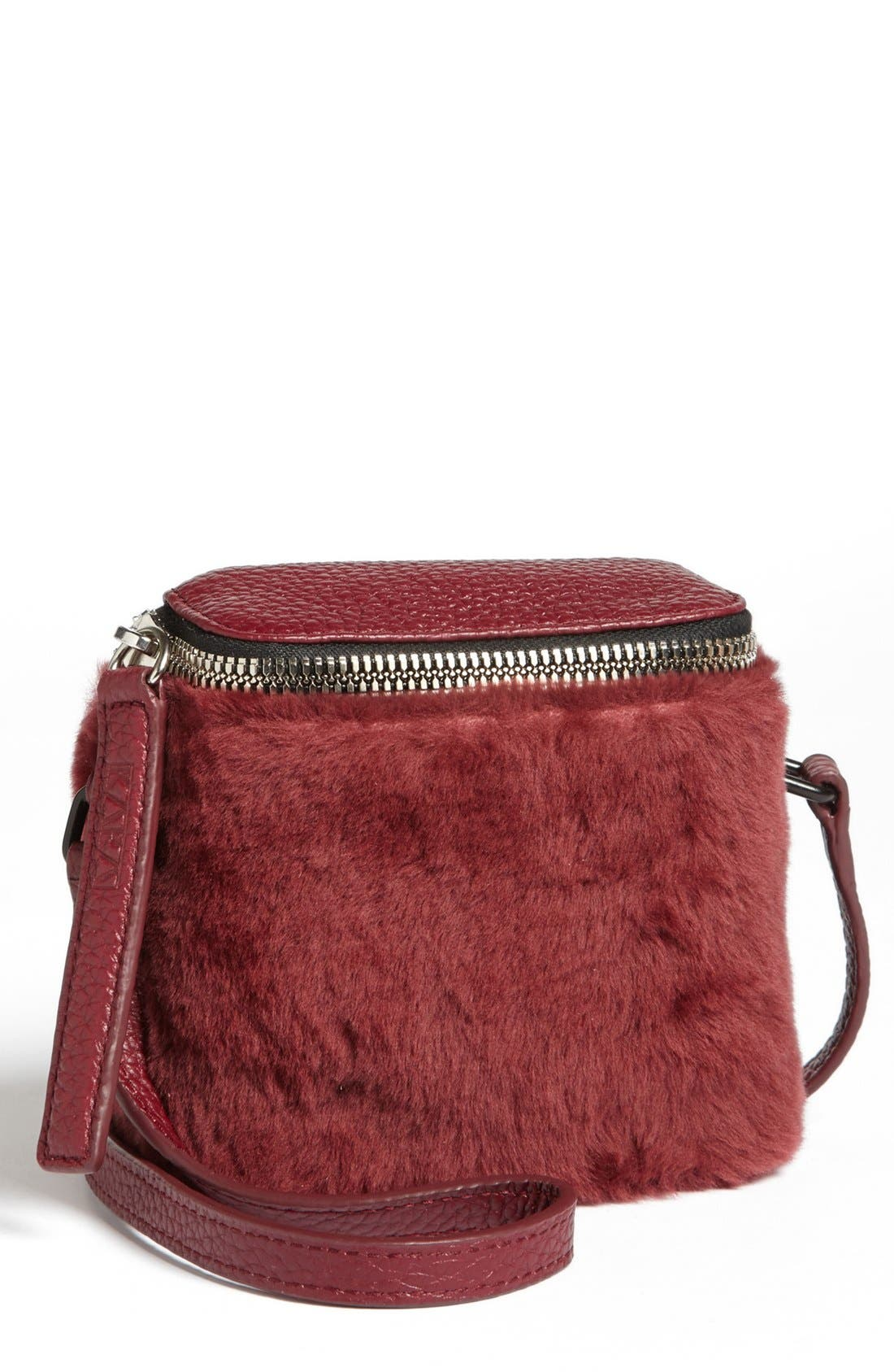 Alternate Image 2  - Kara 'Stowaway' Pebbled Leather & Genuine Shearling Crossbody Bag, Small
