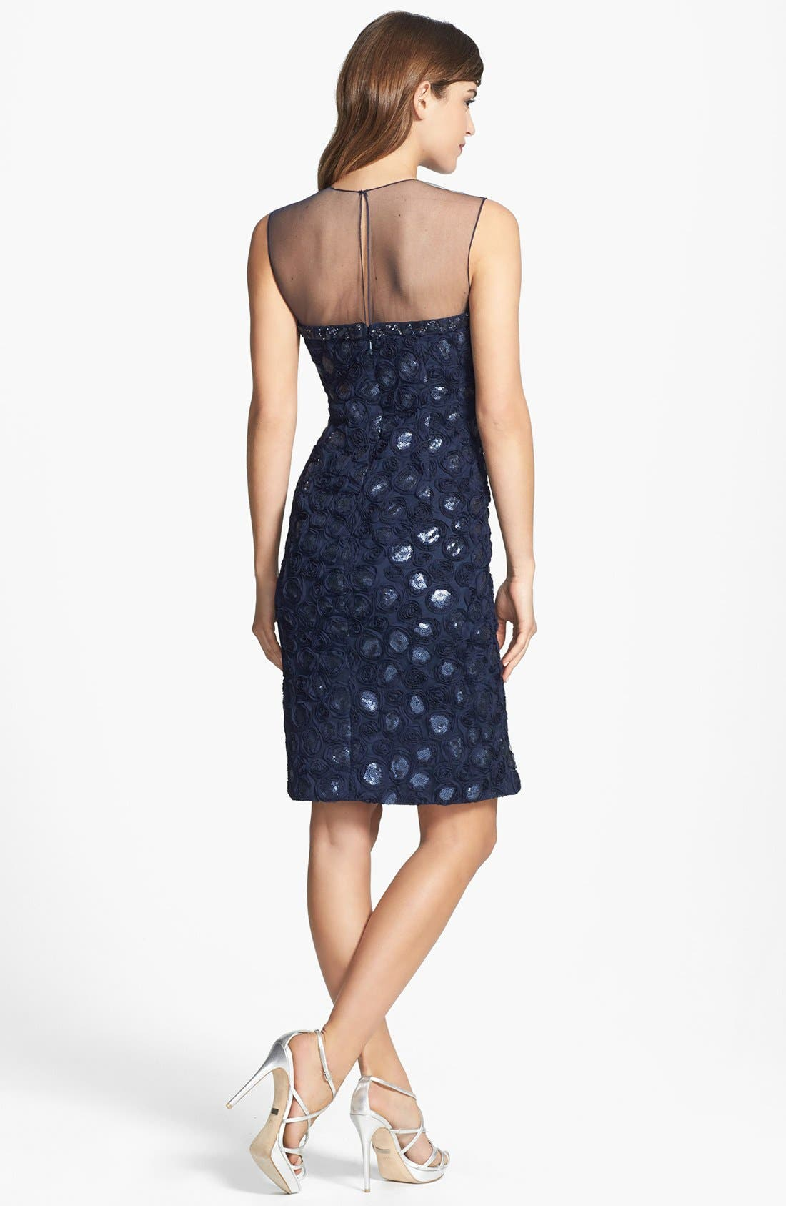 Alternate Image 2  - Mikael Aghal Embroidered Embellished Tulle Sheath Dress