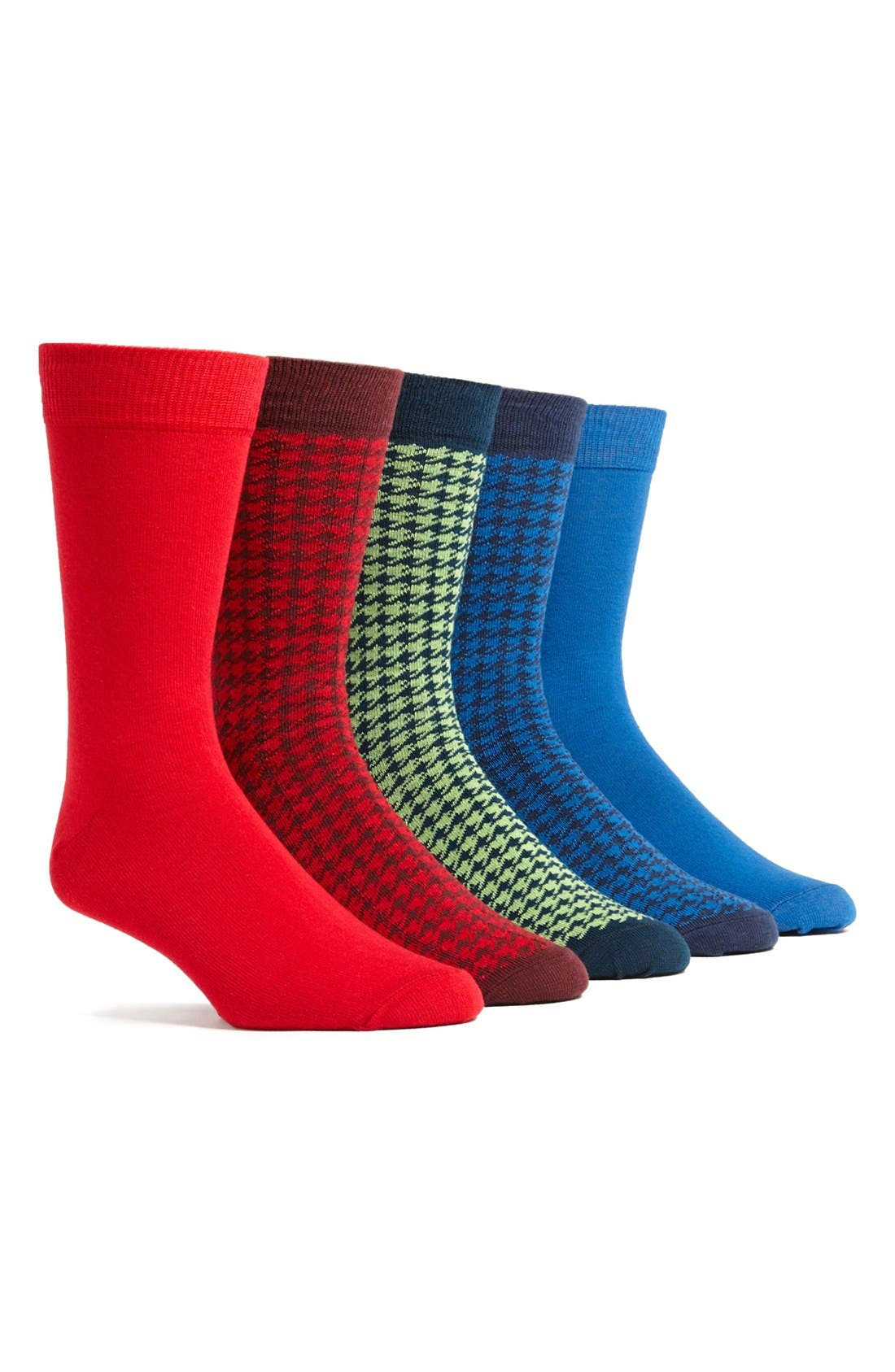Alternate Image 1 Selected - Topman Houndstooth Pattern Socks (5-Pack)