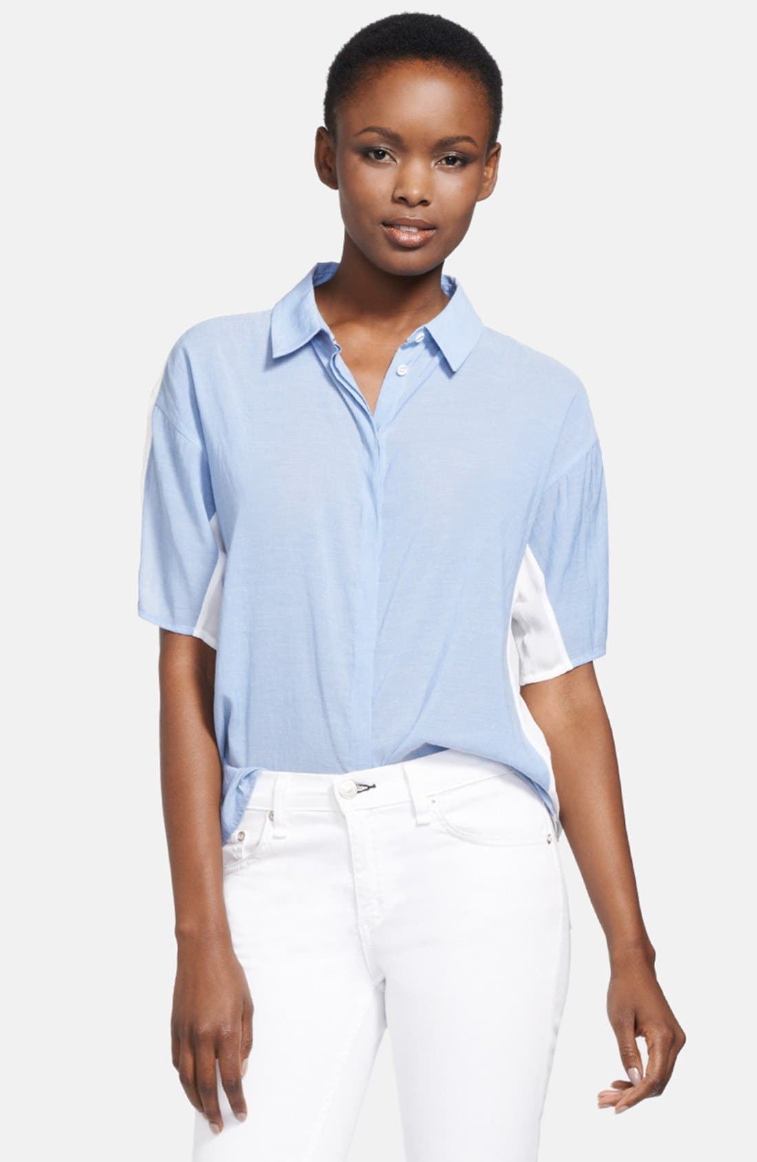 Alternate Image 1 Selected - J Brand Ready-To-Wear 'Hay' Chambray & Voile Blouse