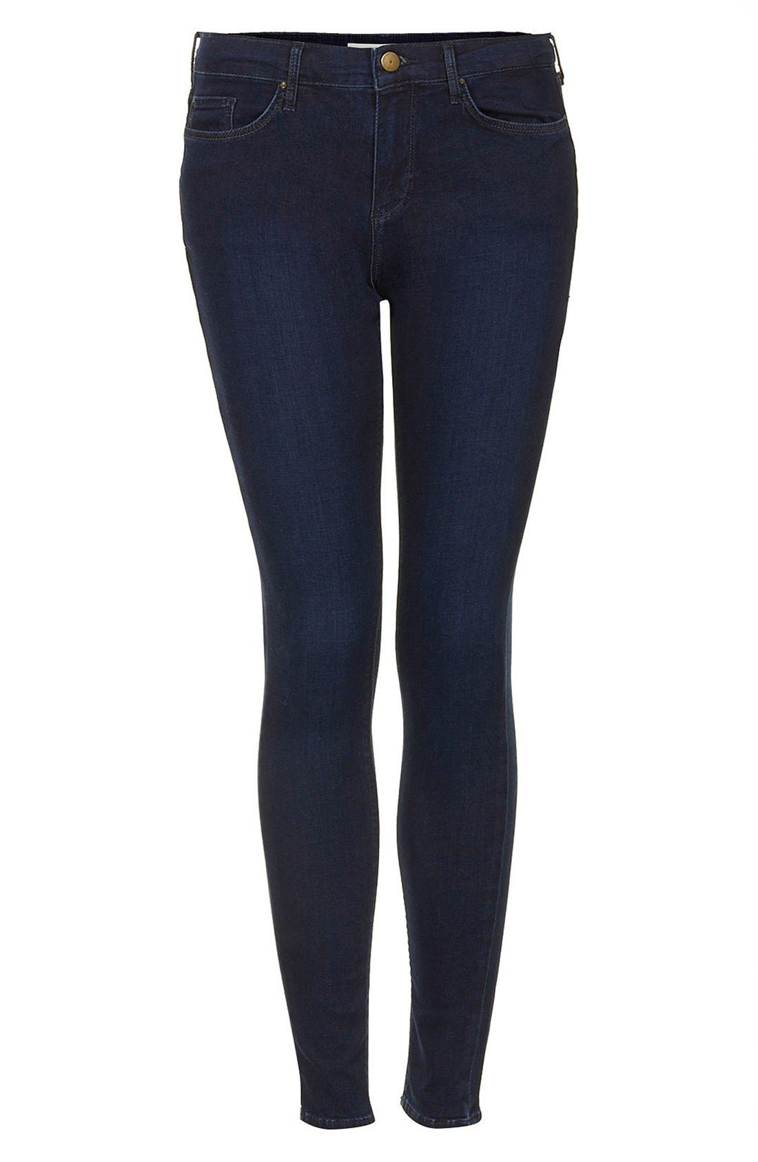Alternate Image 3  - Topshop Moto 'Leigh' Skinny Jeans (Blue Black) (Regular & Long)