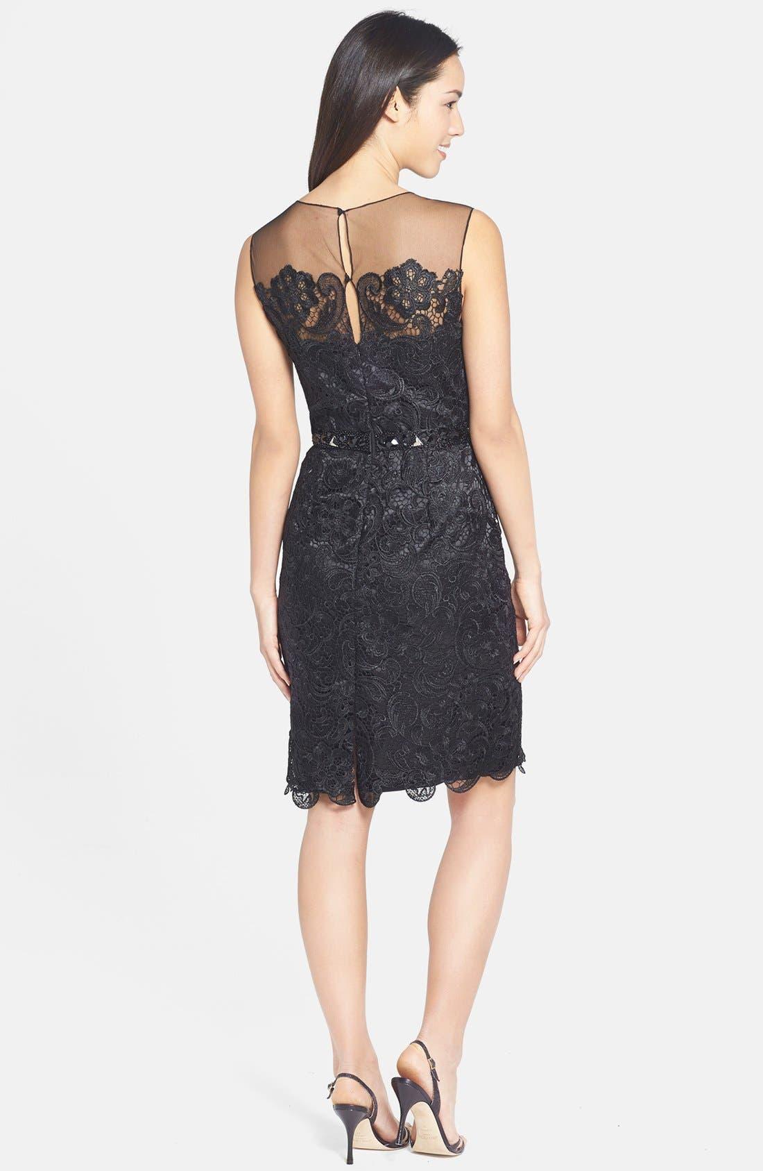Alternate Image 2  - Mikael Aghal Bead Embellished Lace Illusion Dress
