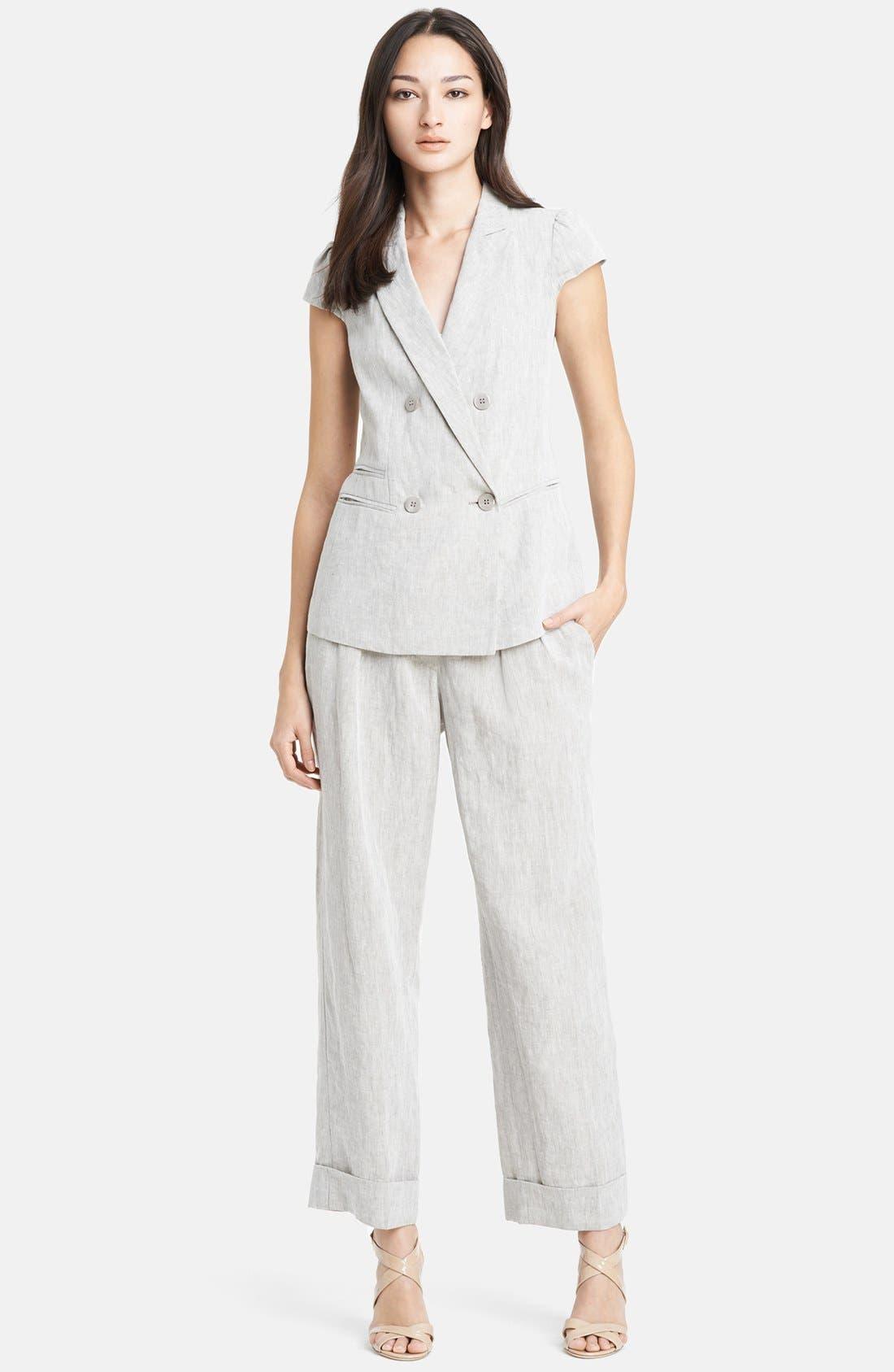 Alternate Image 3  - Armani Collezioni Wide Crop Linen Pants