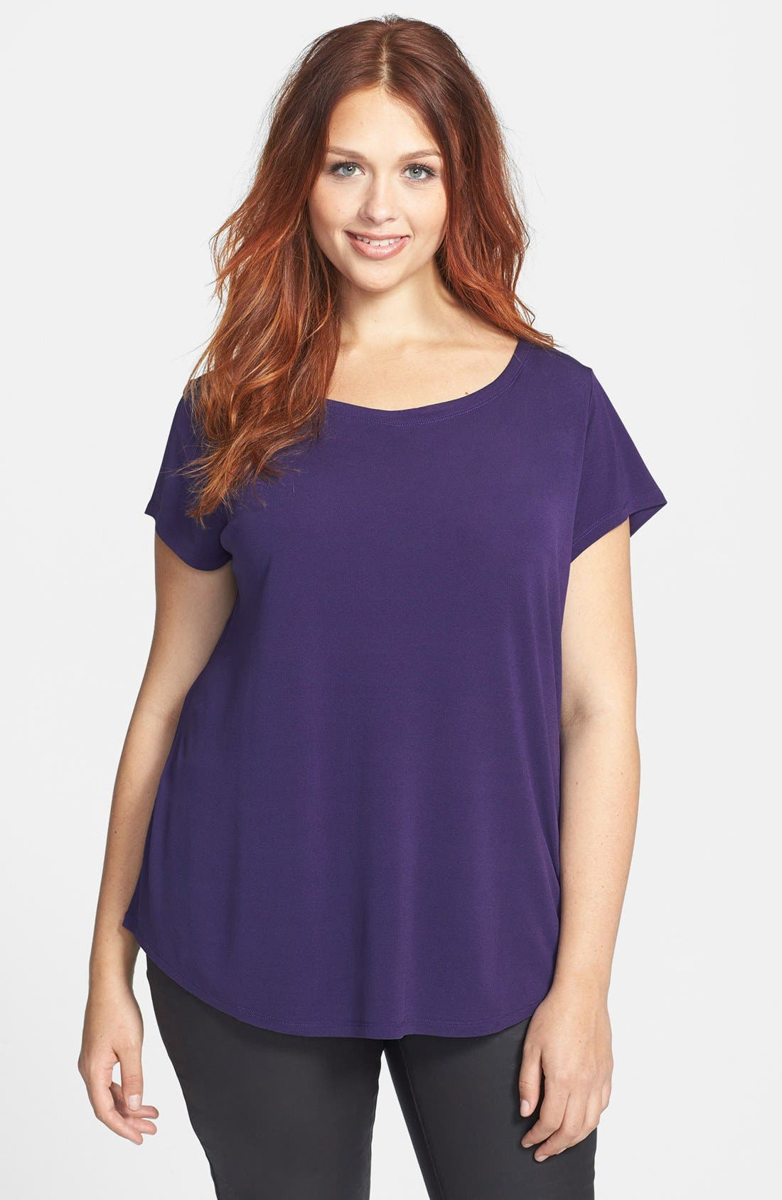 Alternate Image 1 Selected - Eileen Fisher Bateau Neck Cap Sleeve Silk Top (Plus Size)