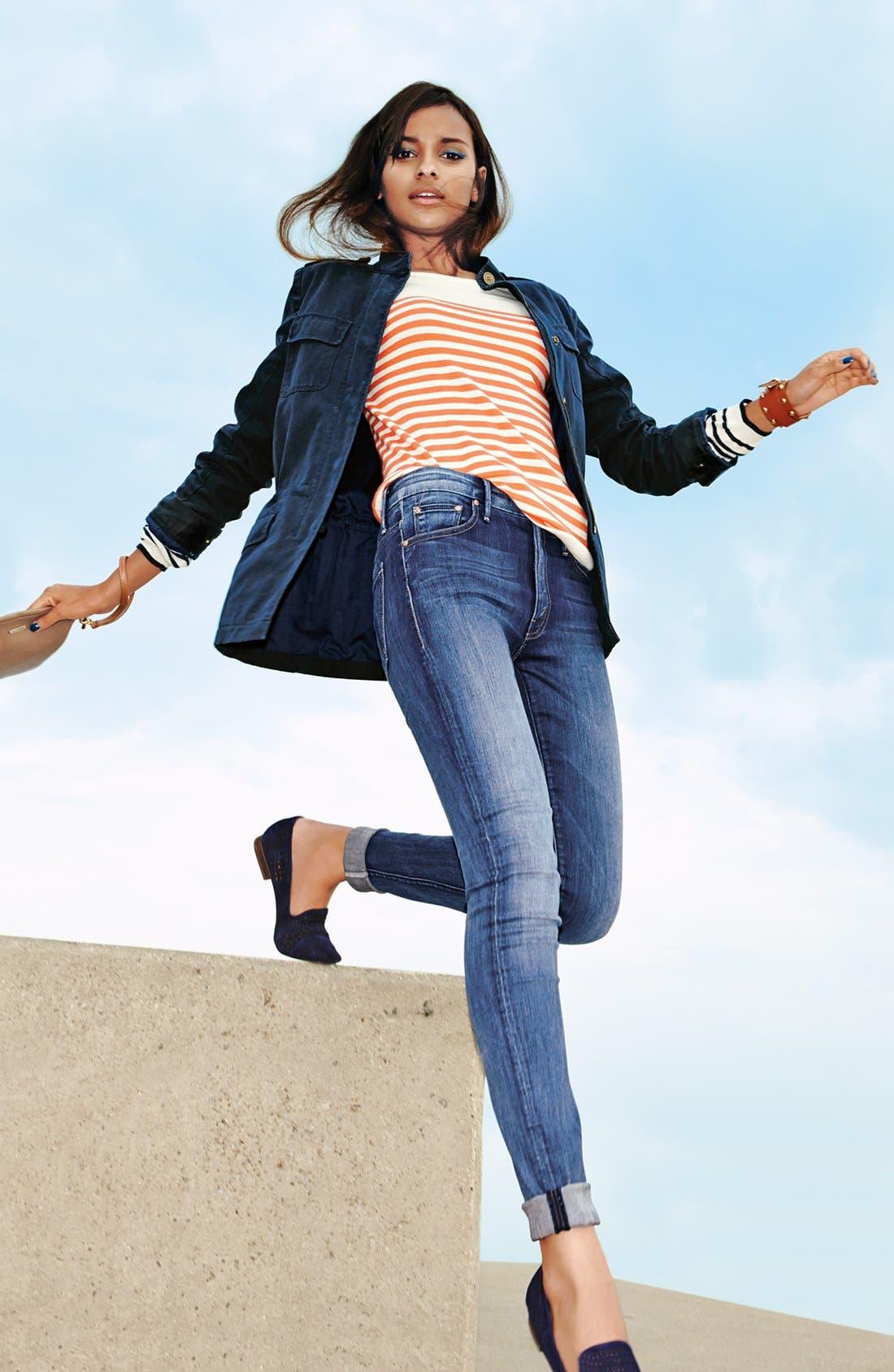 Alternate Image 4  - Hinge® Mix Stripe Cotton Sweater
