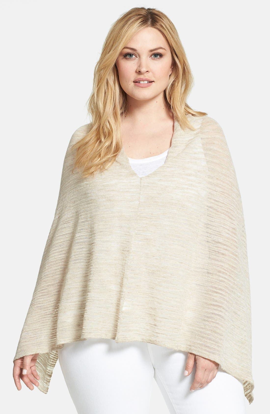 Alternate Image 1 Selected - Eileen Fisher Linen Blend Poncho (Plus Size)