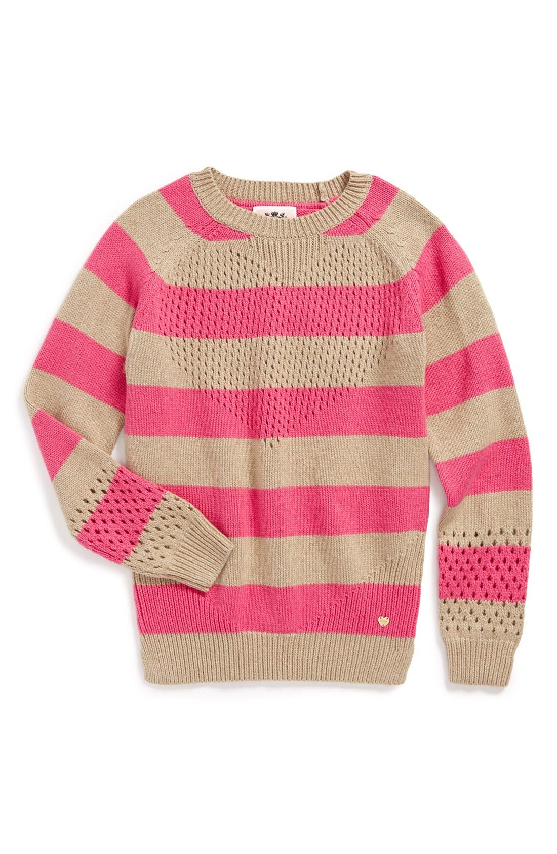 Main Image - Juicy Couture 'Pointelle Heart' Pullover (Toddler Girls, Little Girls & Big Girls)