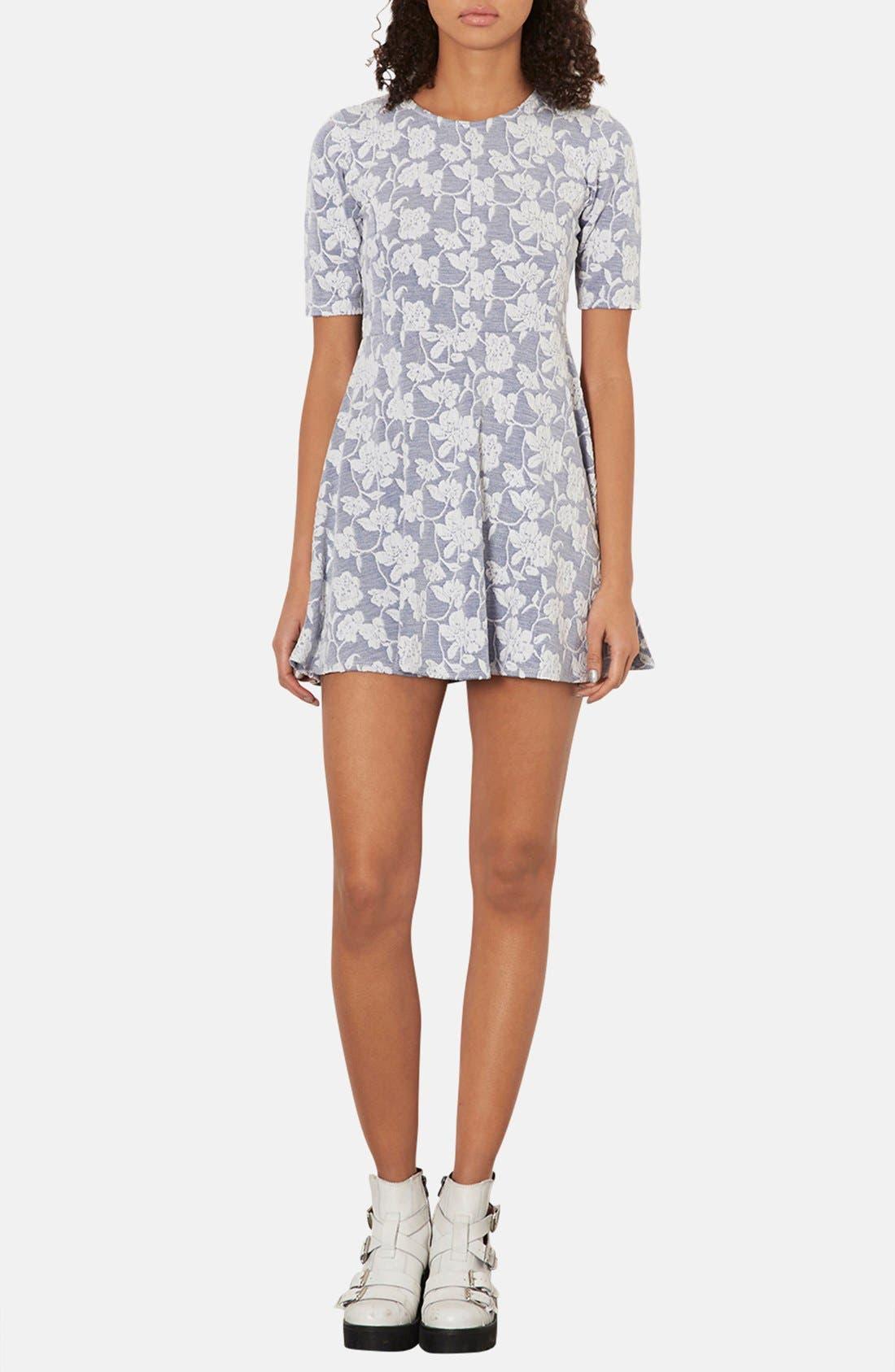 Main Image - Topshop Floral Jacquard Skater Dress