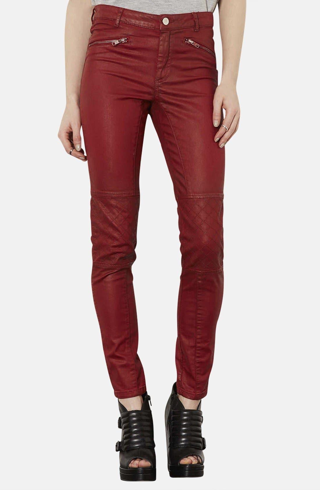 Alternate Image 1 Selected - Topshop Coated Skinny Biker Pants