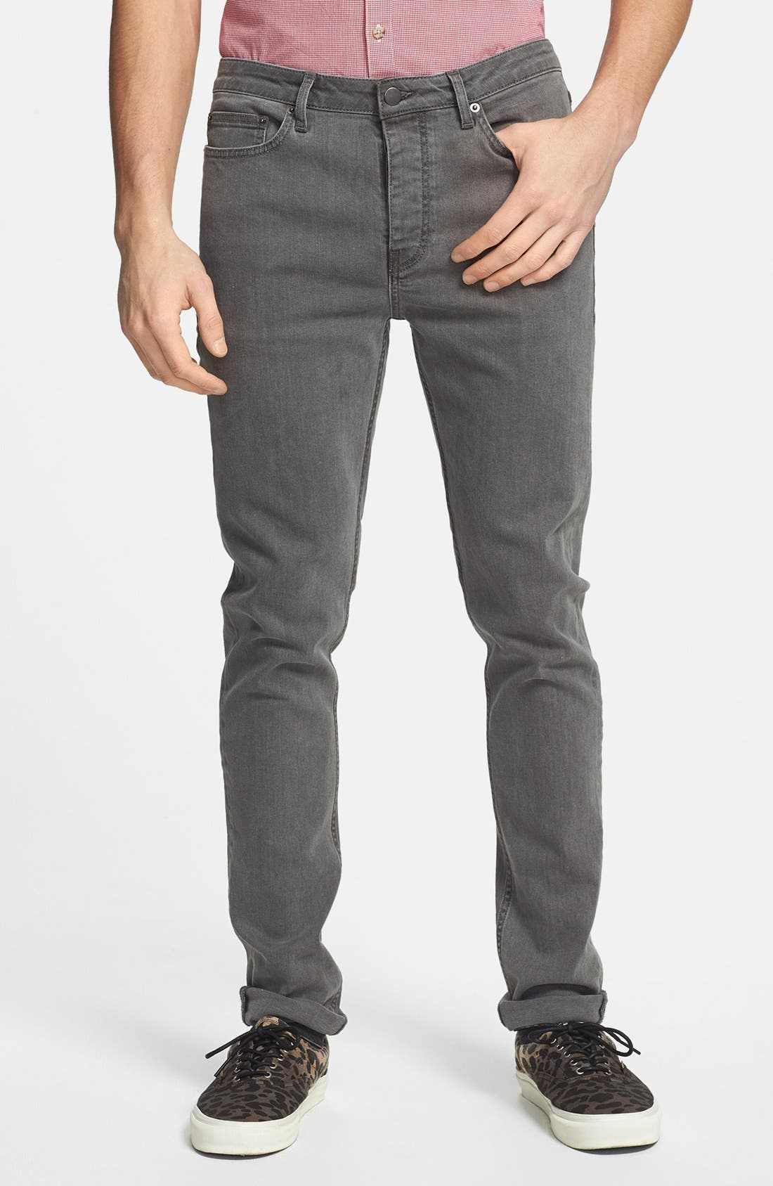 Alternate Image 1 Selected - Topman Stretch Skinny Fit Stretch Jeans (Grey)