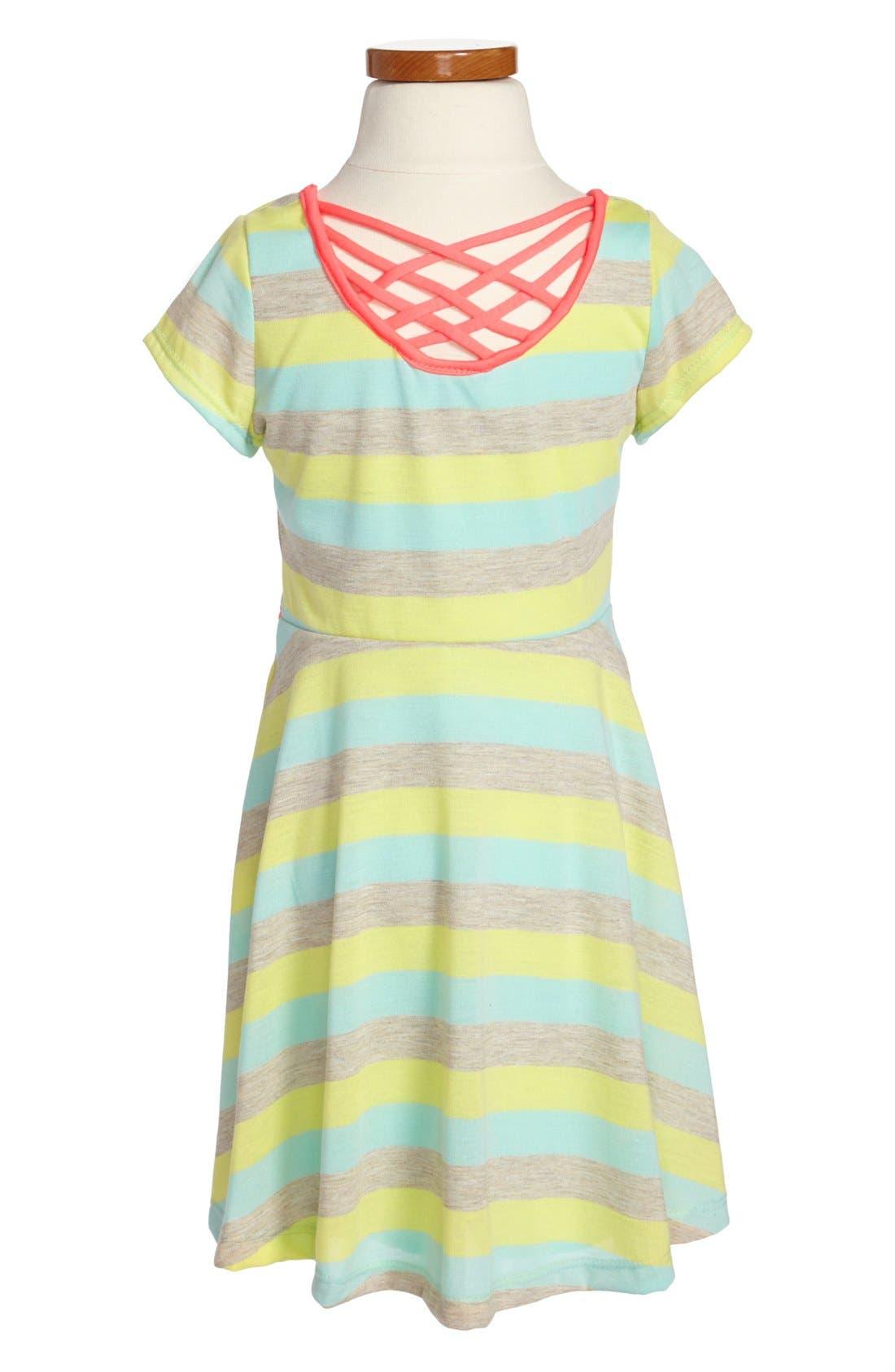 Alternate Image 2  - Zunie Stripe Skater Dress (Little Girls & Big Girls)
