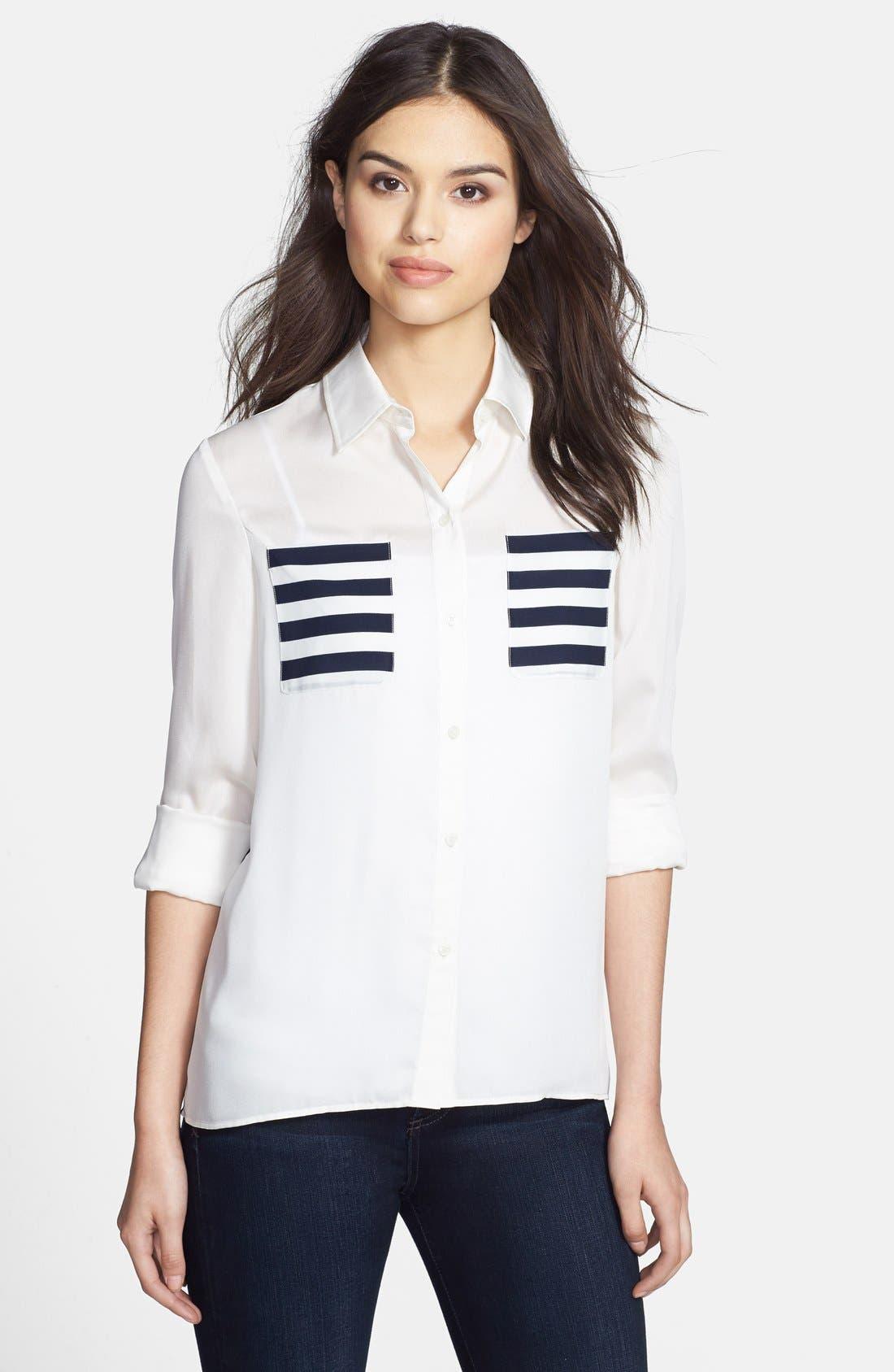 Alternate Image 1 Selected - Anne Klein Stripe Block Two-Pocket Shirt