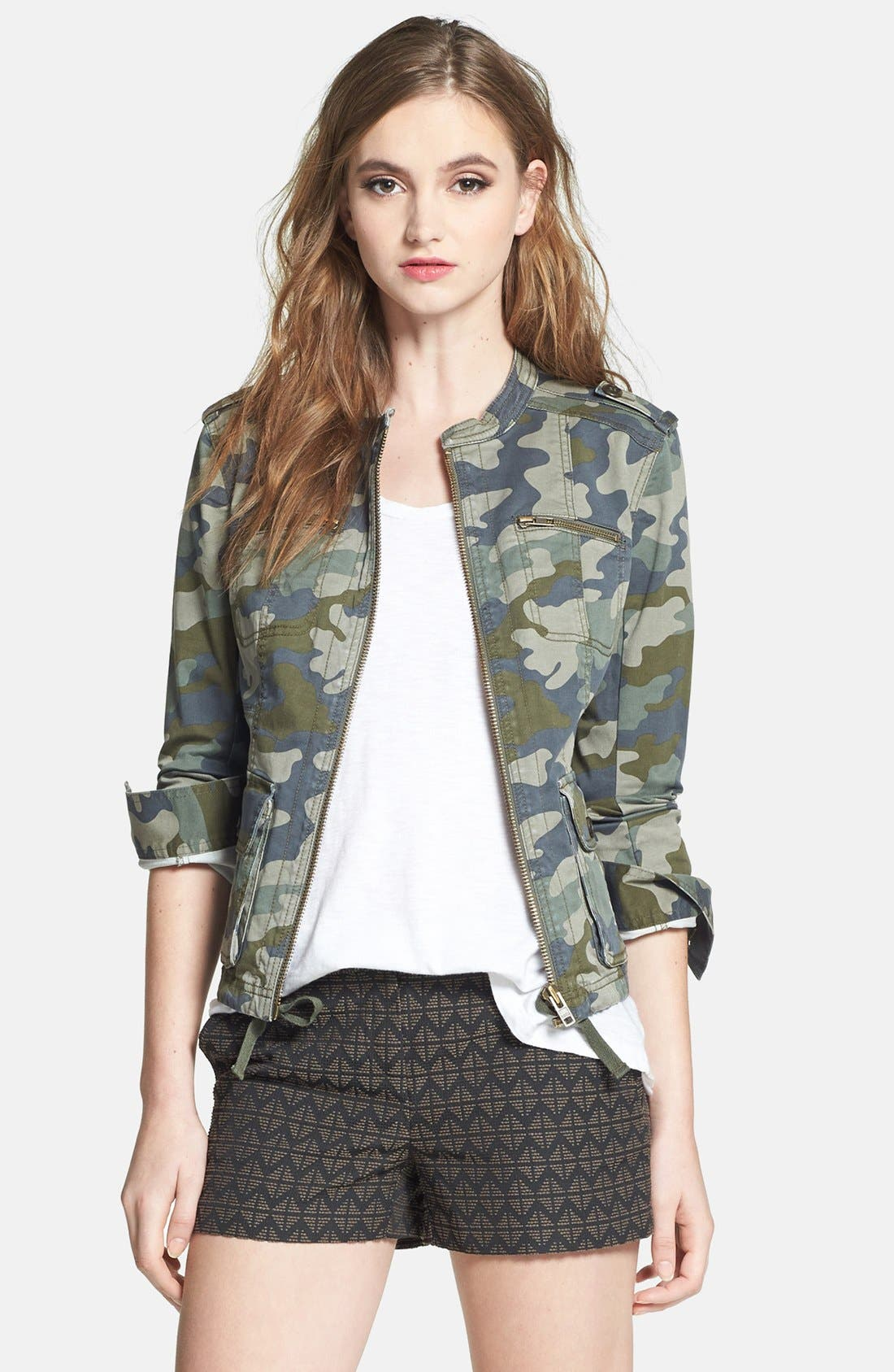 Alternate Image 1 Selected - Halogen® Stretch Cotton Twill Military Jacket (Regular & Petite)