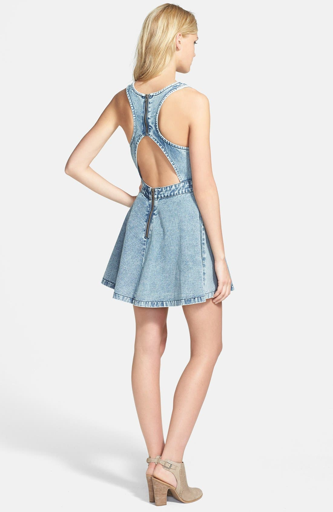 Alternate Image 2  - MINKPINK 'Funday Sunday' Denim Pinafore Dress