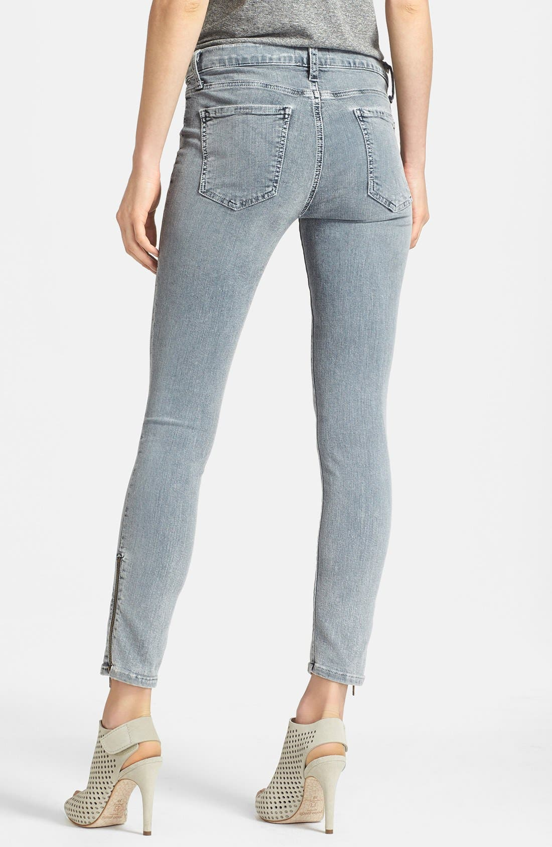 Alternate Image 2  - Current/Elliott 'The Soho' Zip Stiletto Skinny Jeans (Bleach Out Navy)