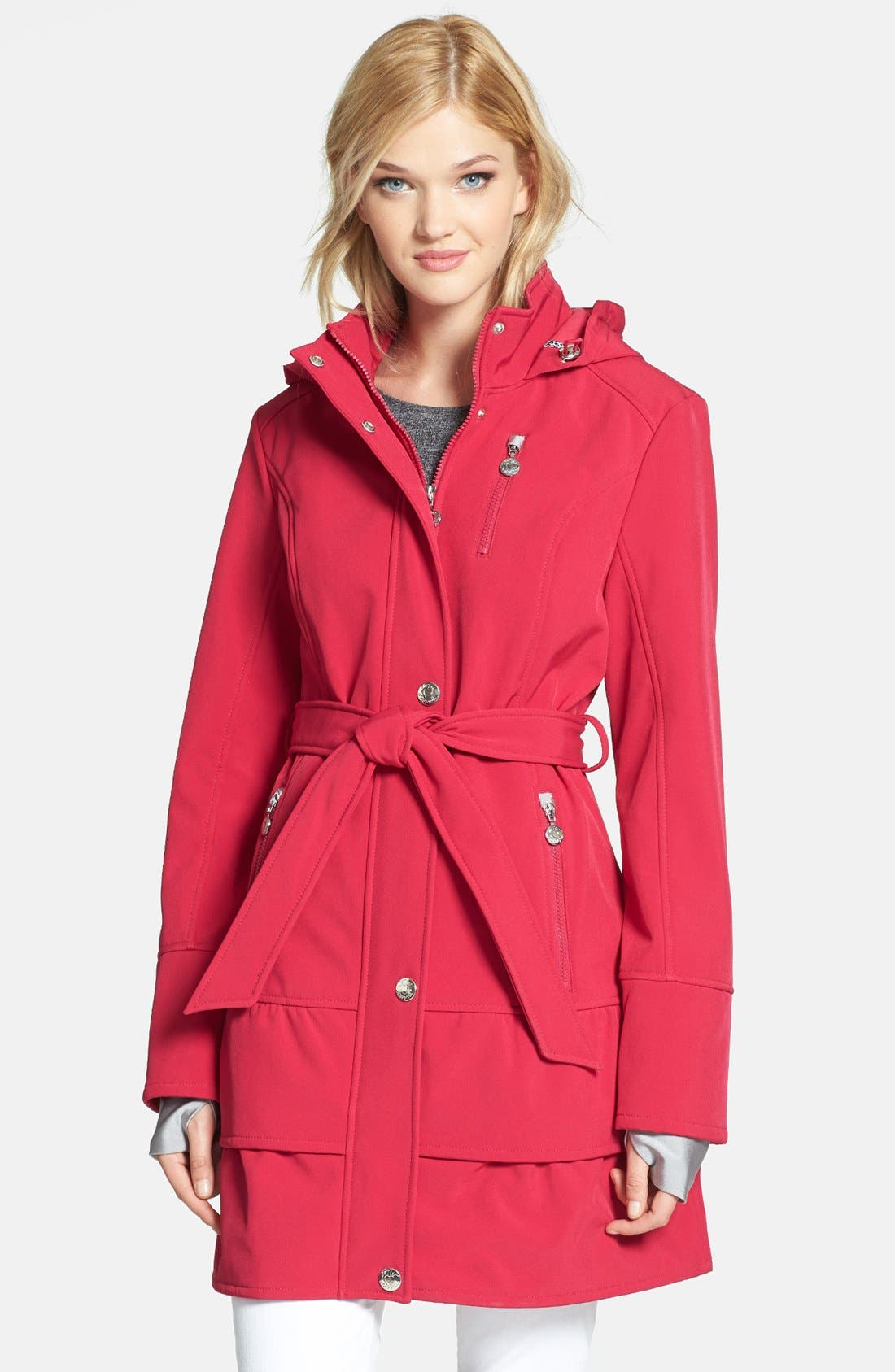 Alternate Image 1 Selected - Betsey Johnson Tiered Hem Hooded Trench Coat
