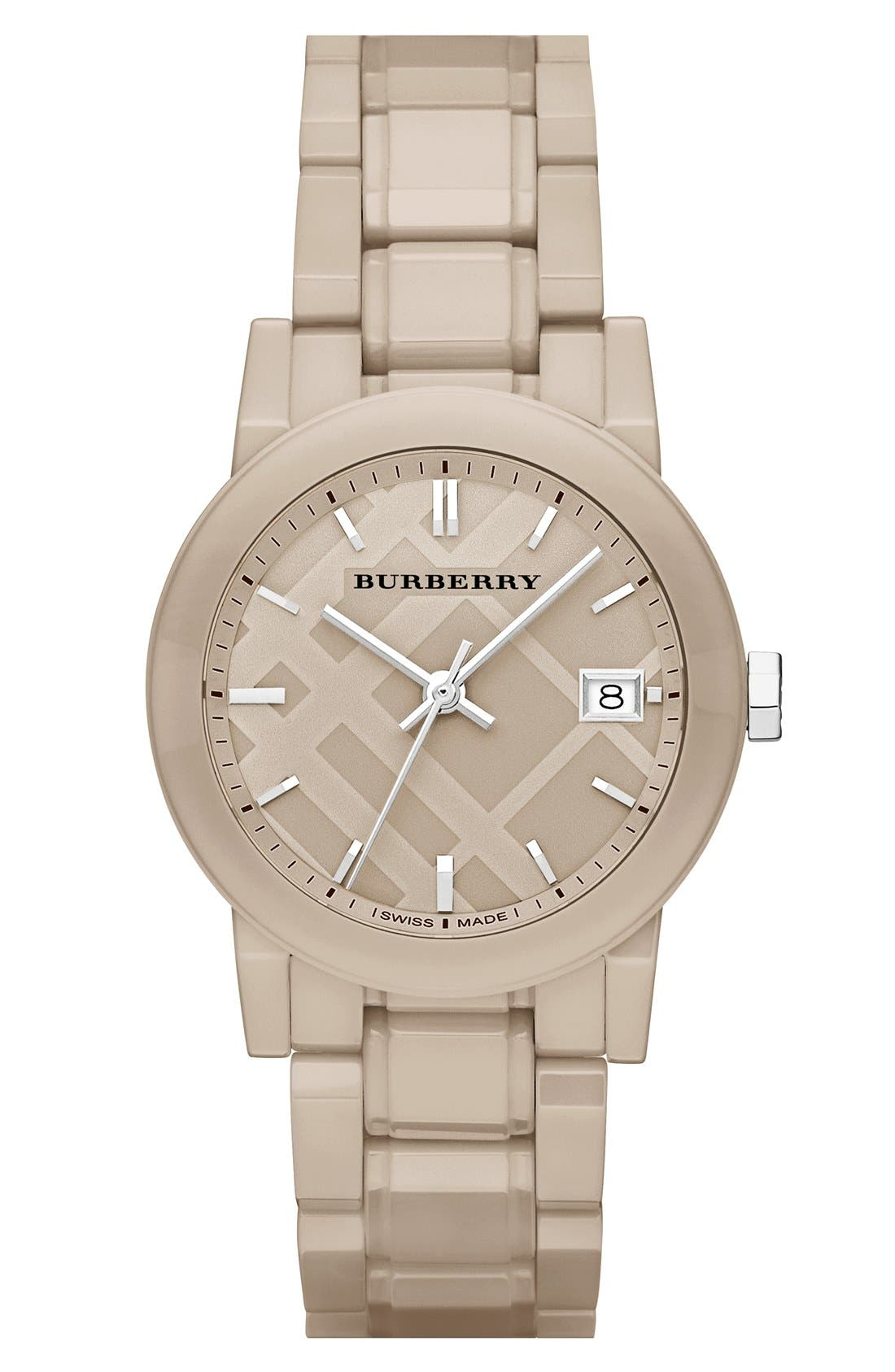 Main Image - Burberry Check Dial Ceramic Bracelet Watch, 34mm