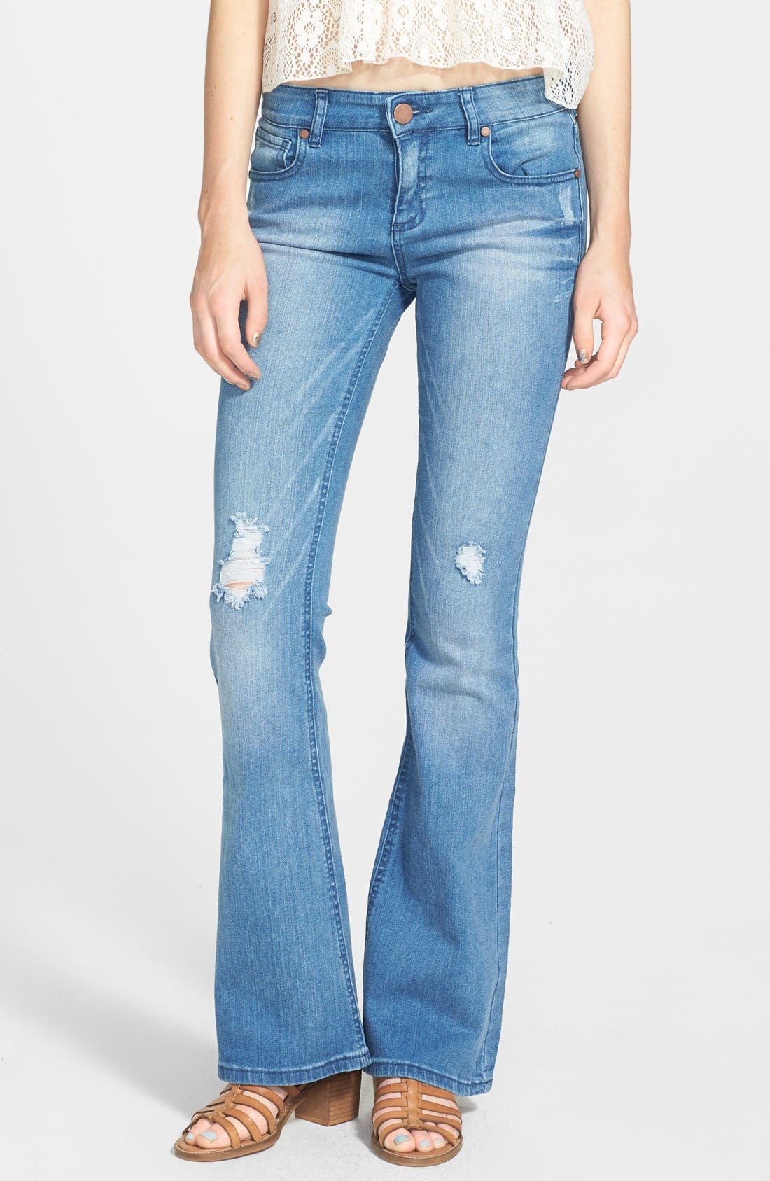 Main Image - Fire Destroyed Flared Jeans (Medium) (Juniors)