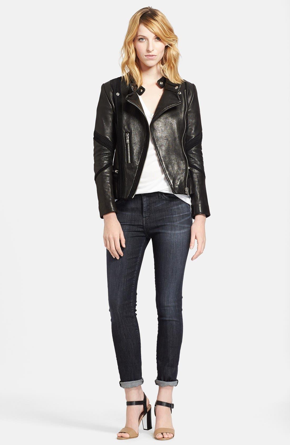 Main Image - IRO Leather Jacket, The Kooples Tee & Current/Elliott Skinny Jeans