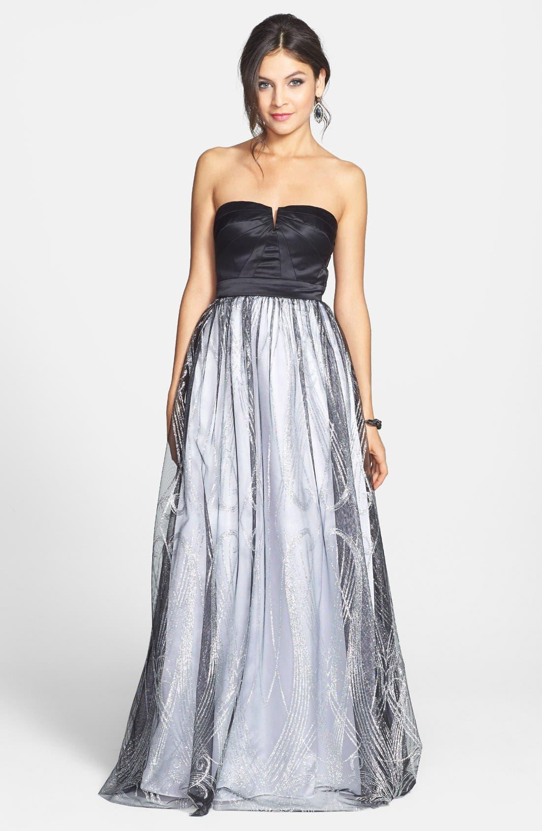 Alternate Image 1 Selected - Hailey Logan Satin & Glitter Mesh Gown (Juniors) (Online Only)