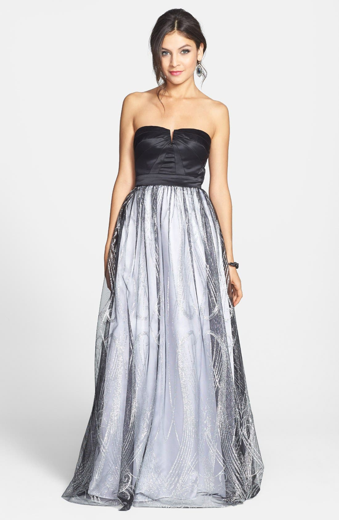 Main Image - Hailey Logan Satin & Glitter Mesh Gown (Juniors) (Online Only)