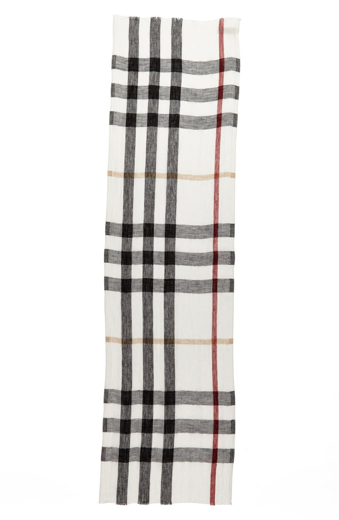 Alternate Image 2  - Burberry 'Giant Exploded Check' Linen Scarf