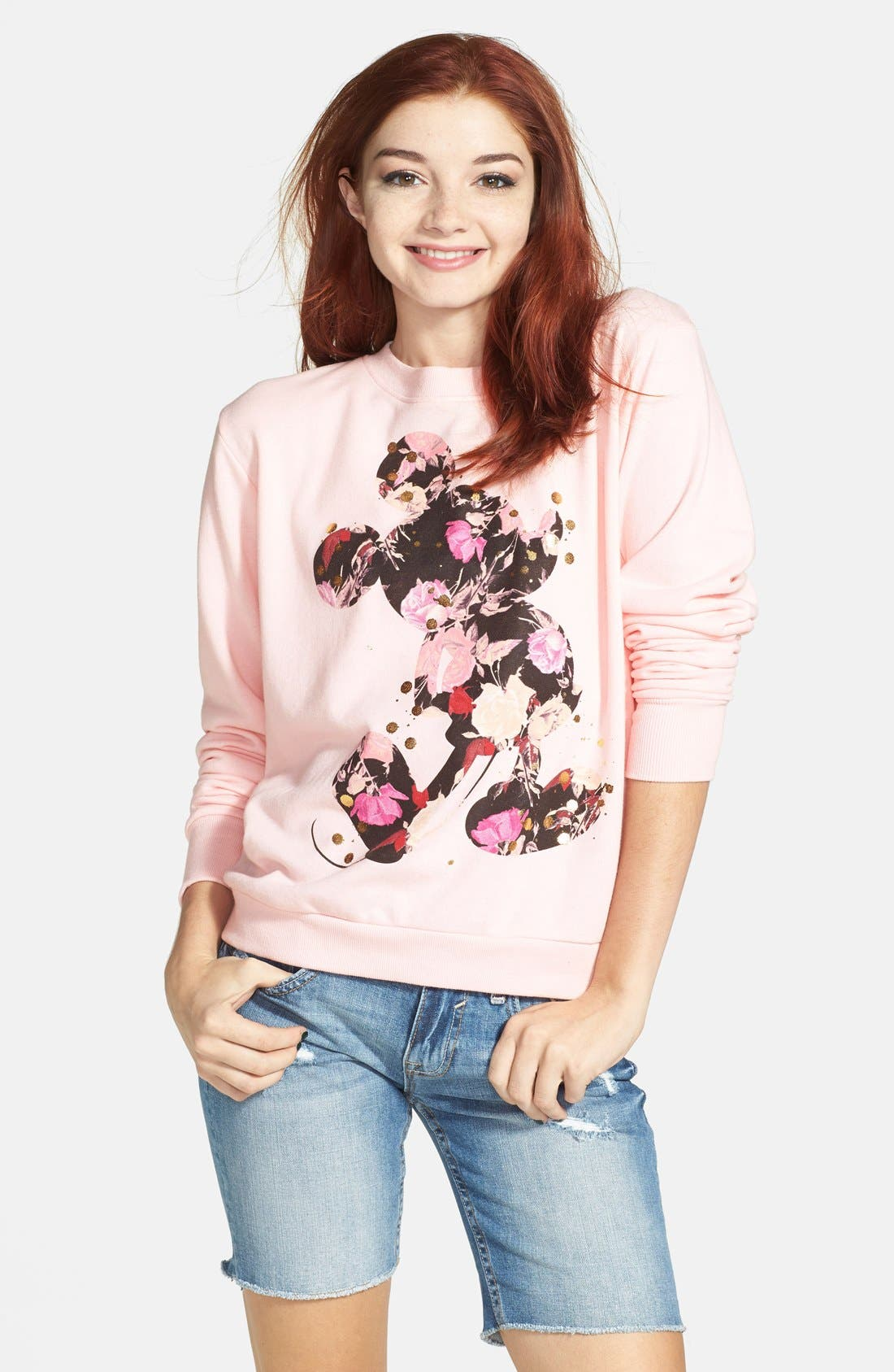 Alternate Image 1 Selected - Mighty Fine Floral Mickey Mouse Sweatshirt (Juniors) (Online Only)