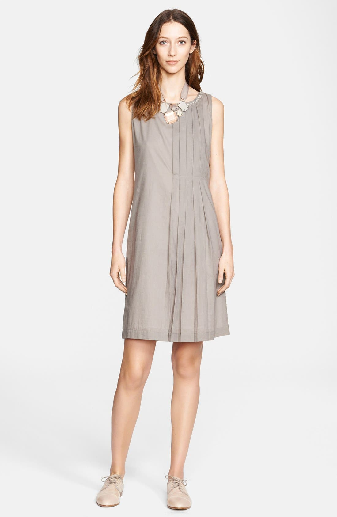 Main Image - Fabiana Filippi Beaded Neck Pleated Cotton Dress