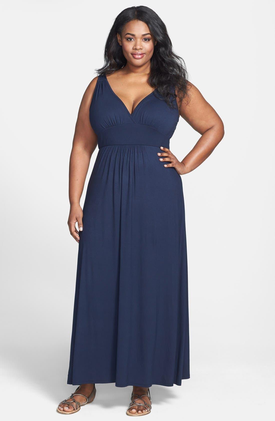 Alternate Image 1 Selected - Loveappella V-Neck Jersey Maxi Dress (Plus Size)