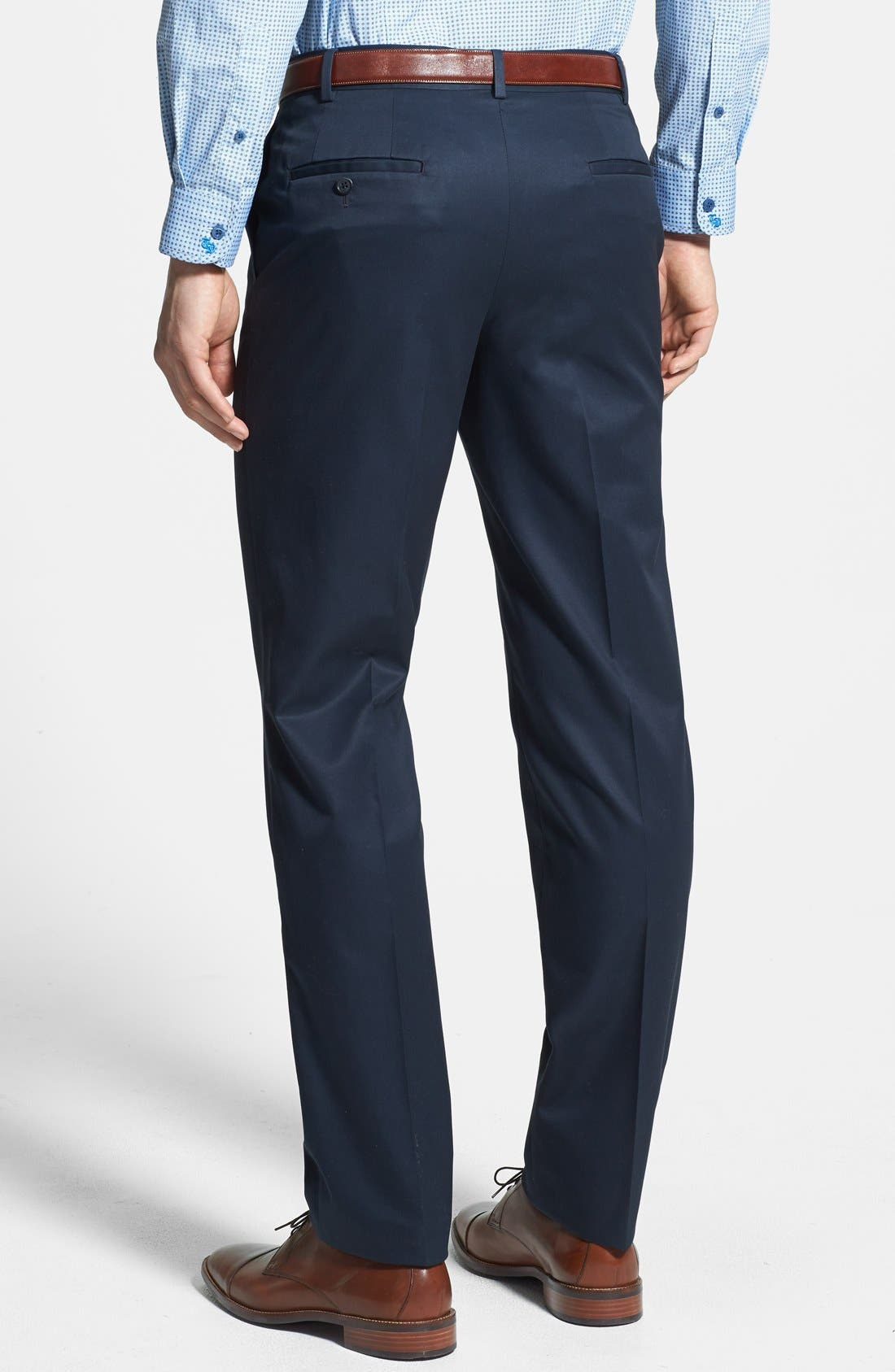 Alternate Image 2  - Nordstrom Flat Front Travel Cotton Trousers